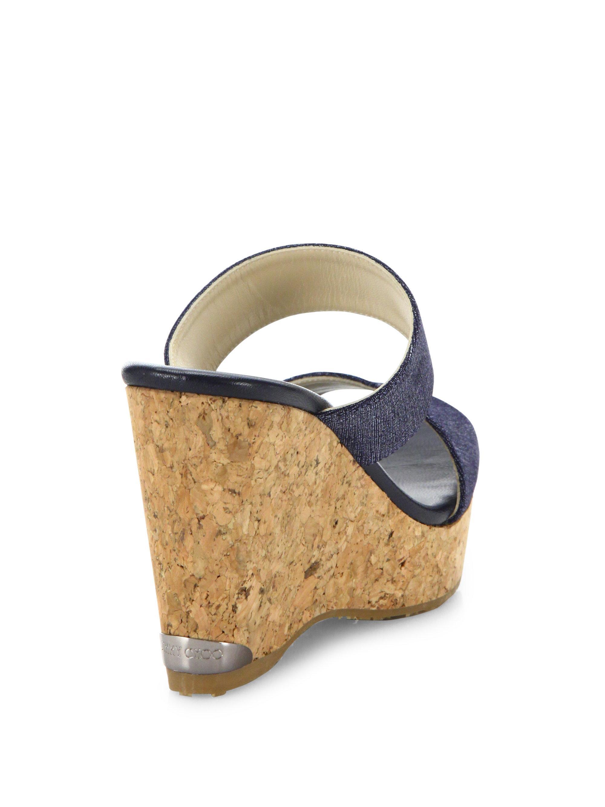 Jimmy Choo Parker Denim Amp Cork Wedge Sandals In Blue Lyst