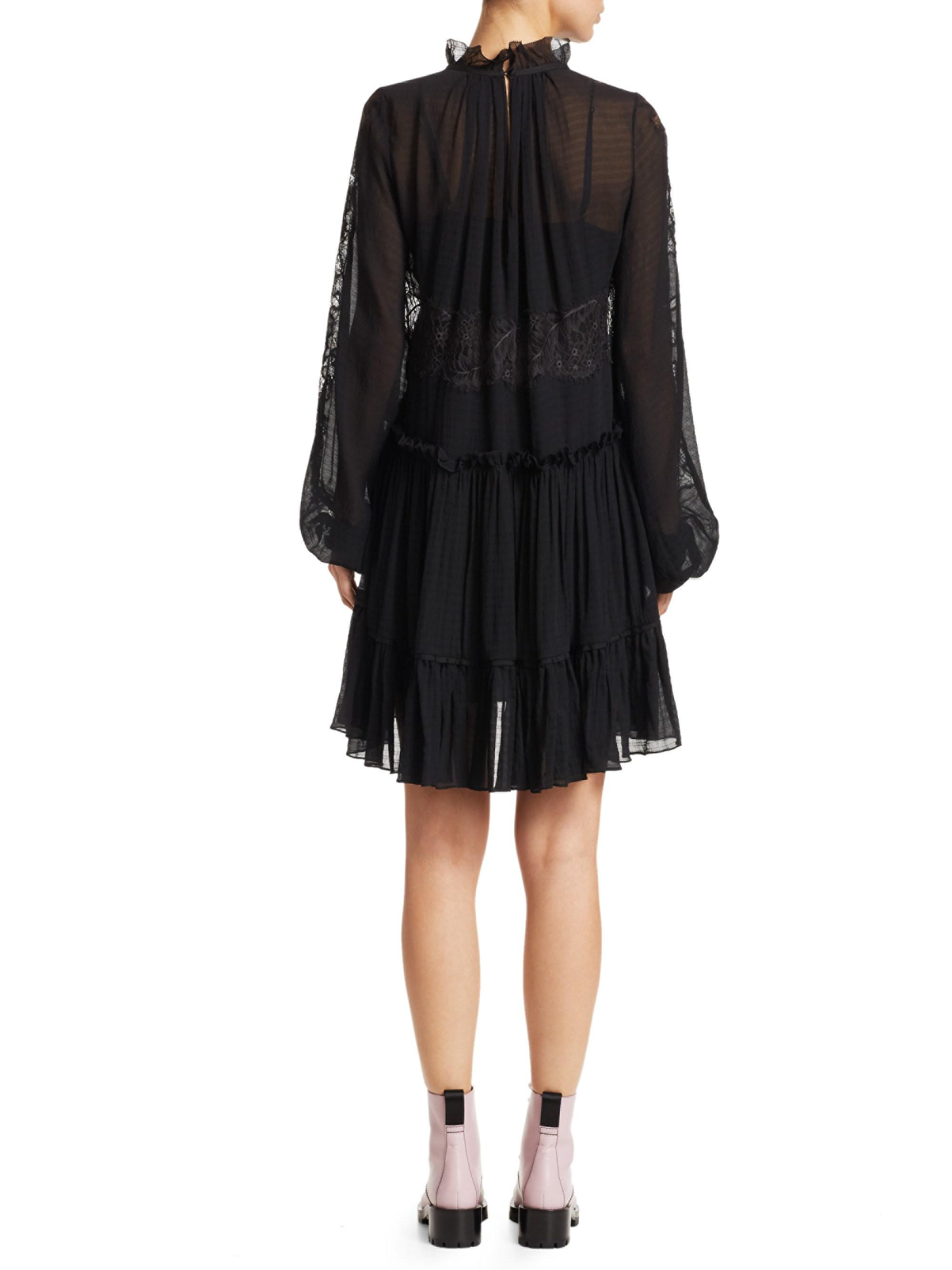 3.1 Phillip Lim - Black Lace   Stretch-silk Flounce Dress - Lyst. View  fullscreen e286459a0