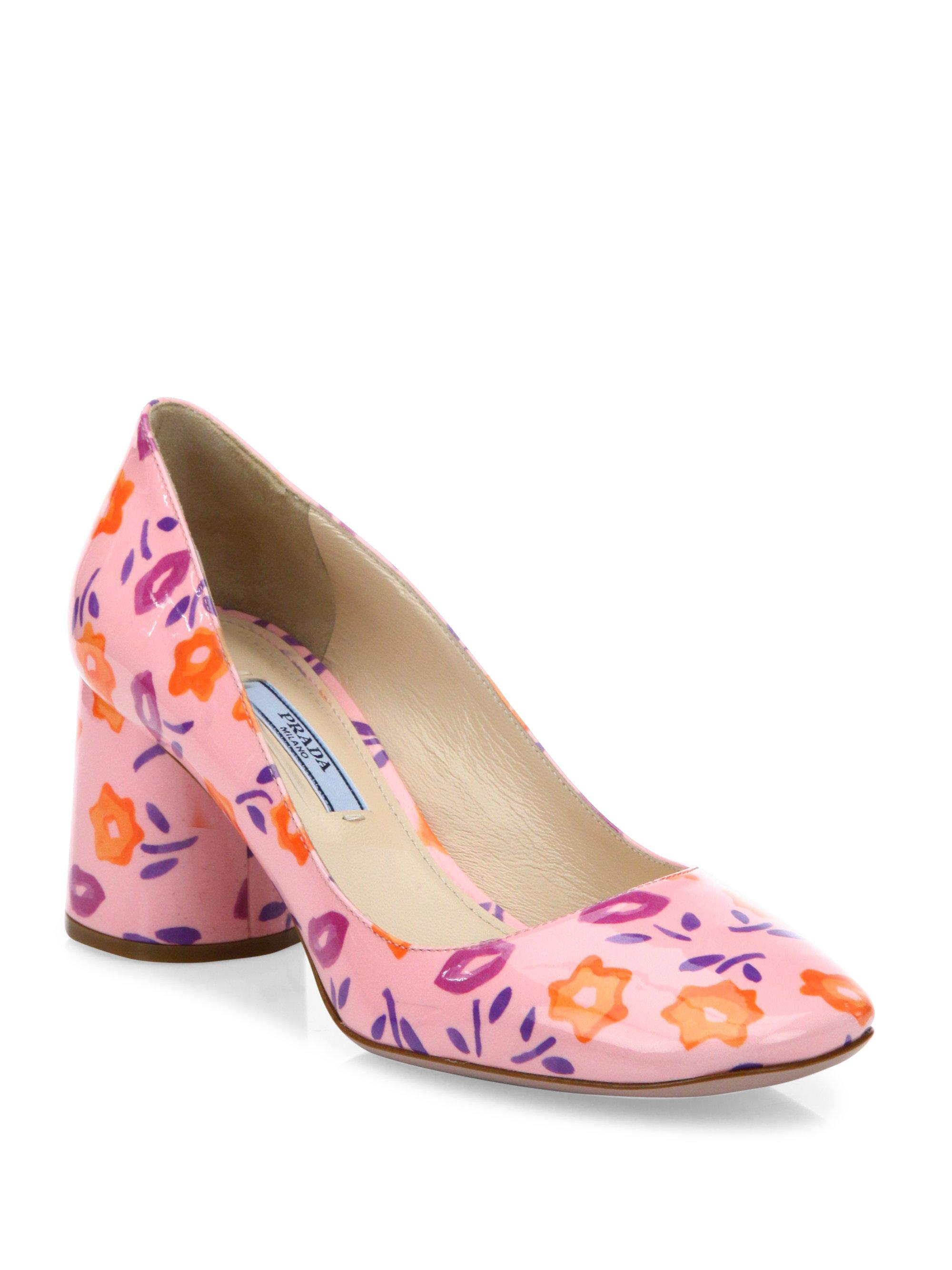 Lyst prada flower print patent leather block heel pumps in pink gallery mightylinksfo