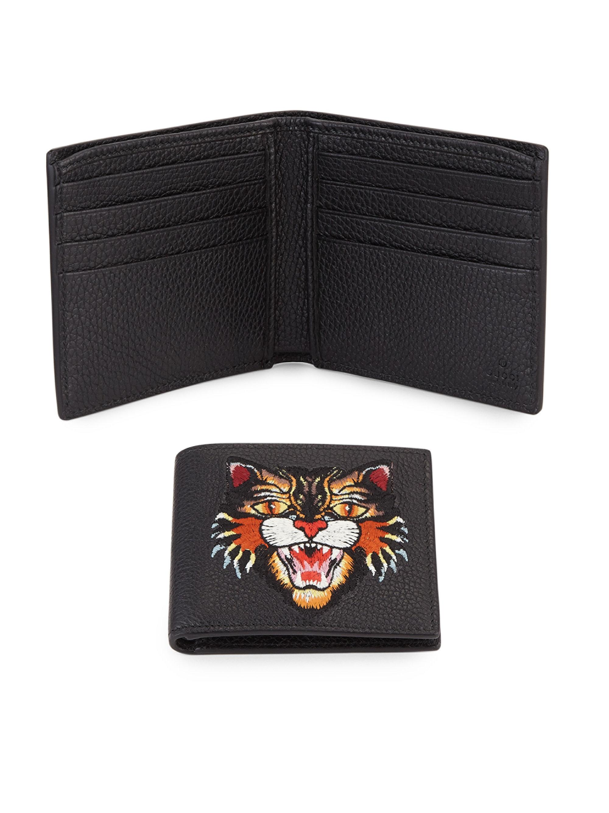 120878041b Gucci Black Angry Tiger Leather Bifold Wallet for men