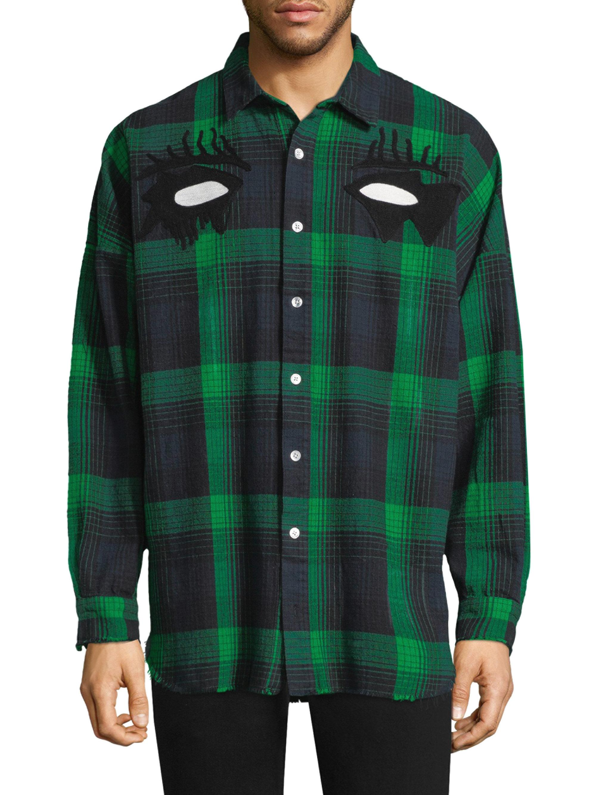 Lyst Haculla Embroidered Plaid Cotton Casual Button Down