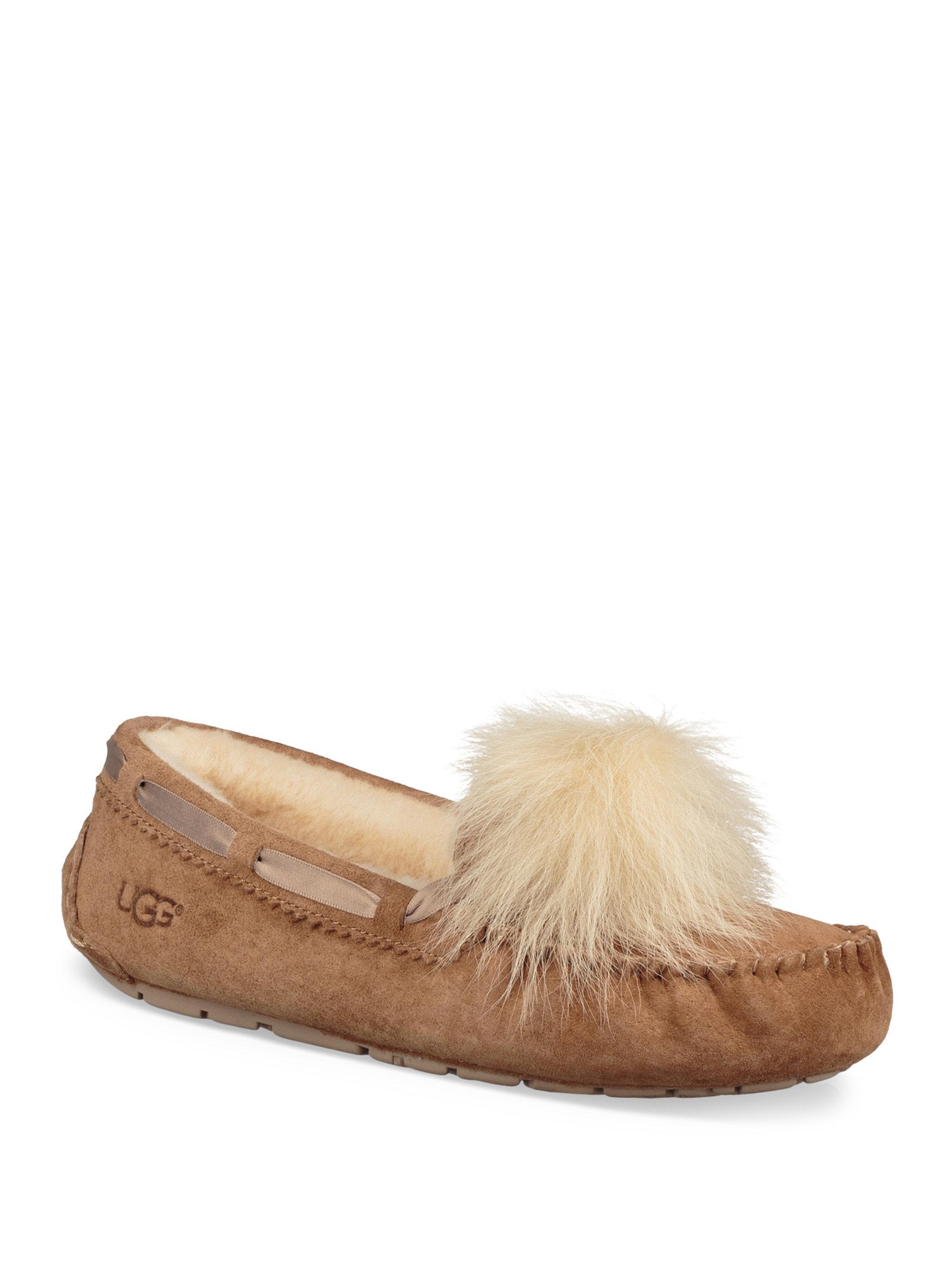 Ugg Dakota Fur Pom Pom Suede Loafers In Chestnut Brown