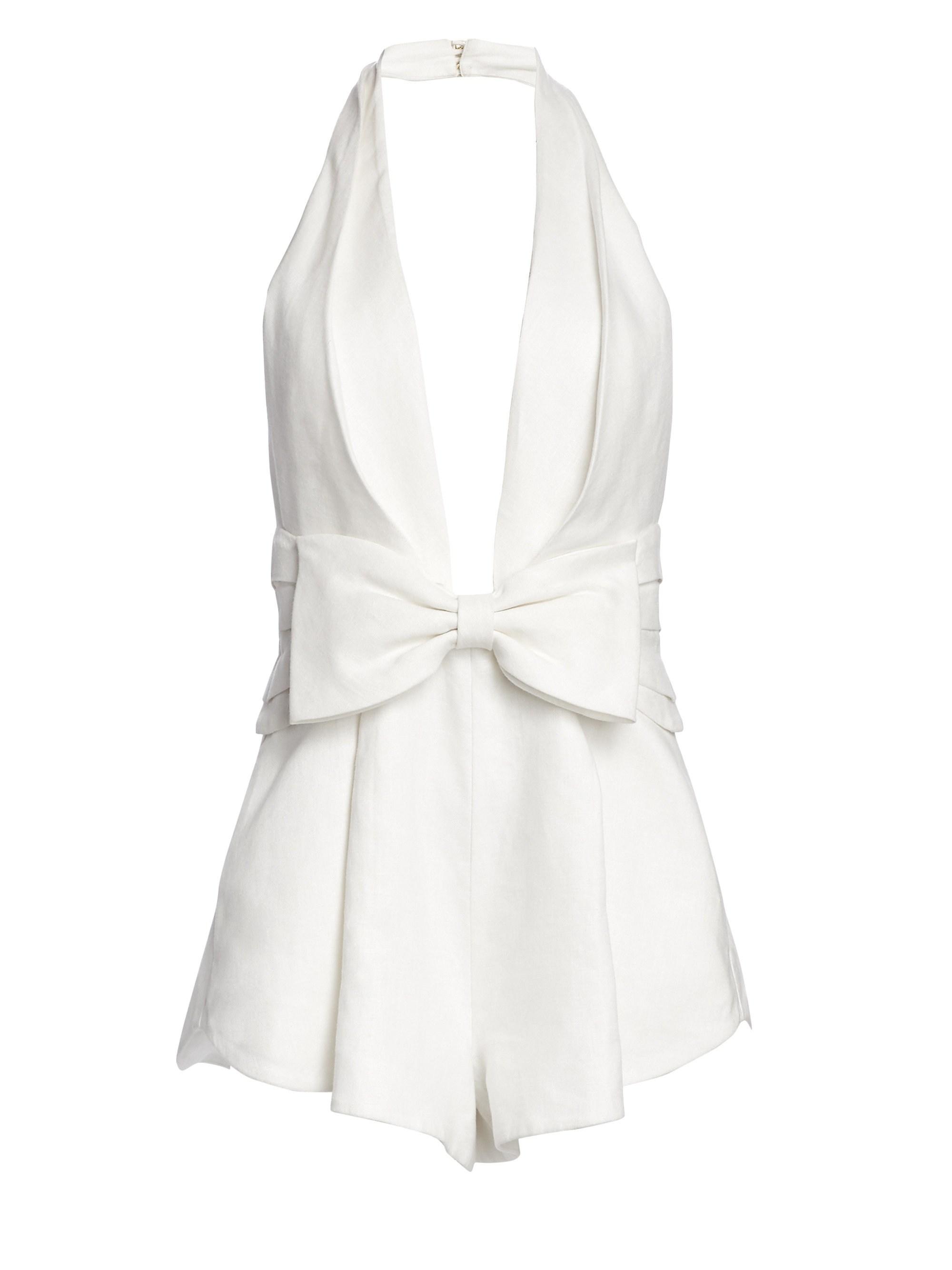 fe27c52b01a Lyst - Zimmermann Women s Corsage Tie Halter Neck Playsuit - Ivory ...