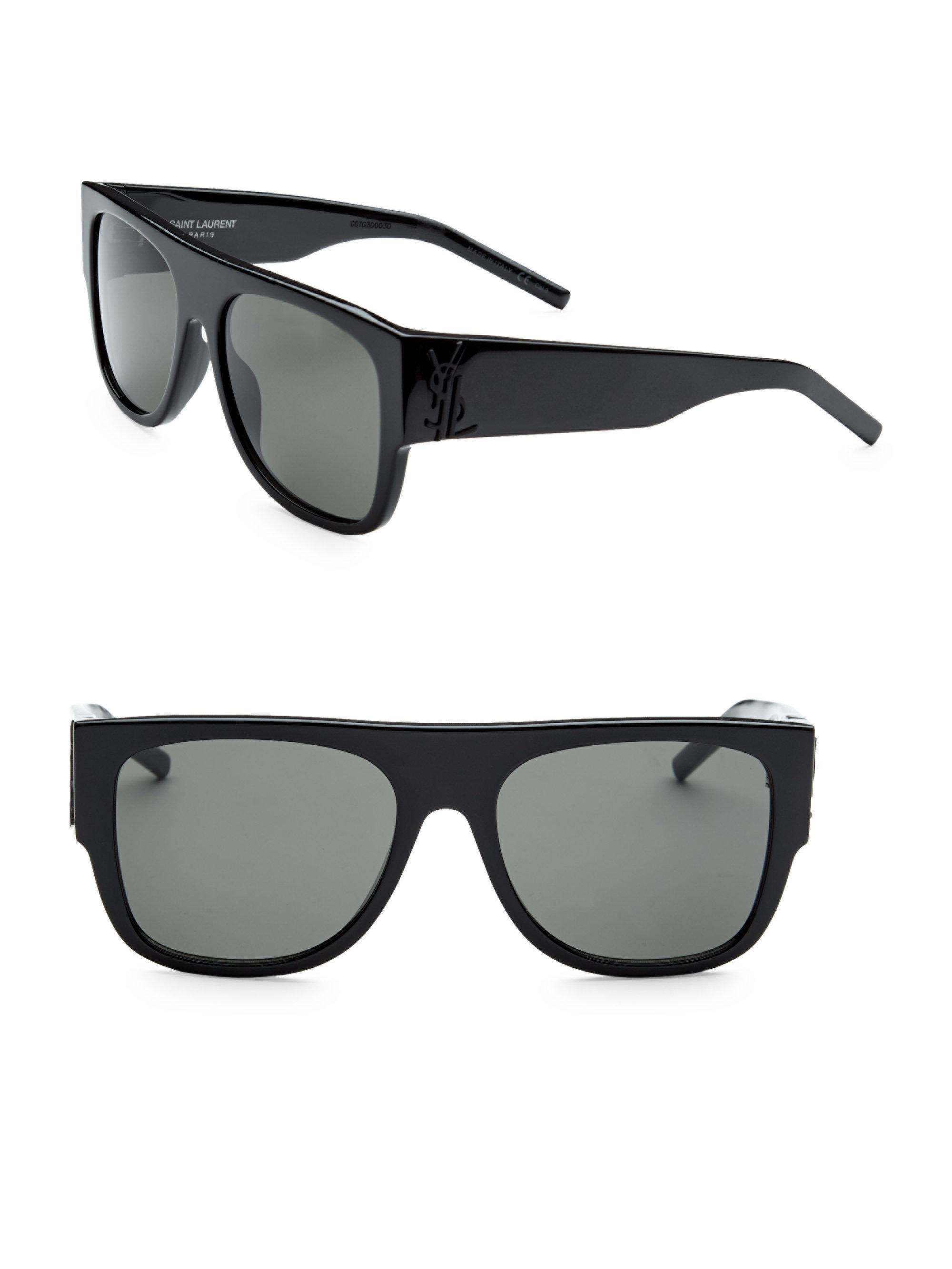 a7ba0d09cd Men s Black 55mm Flat-top Injected Sunglasses