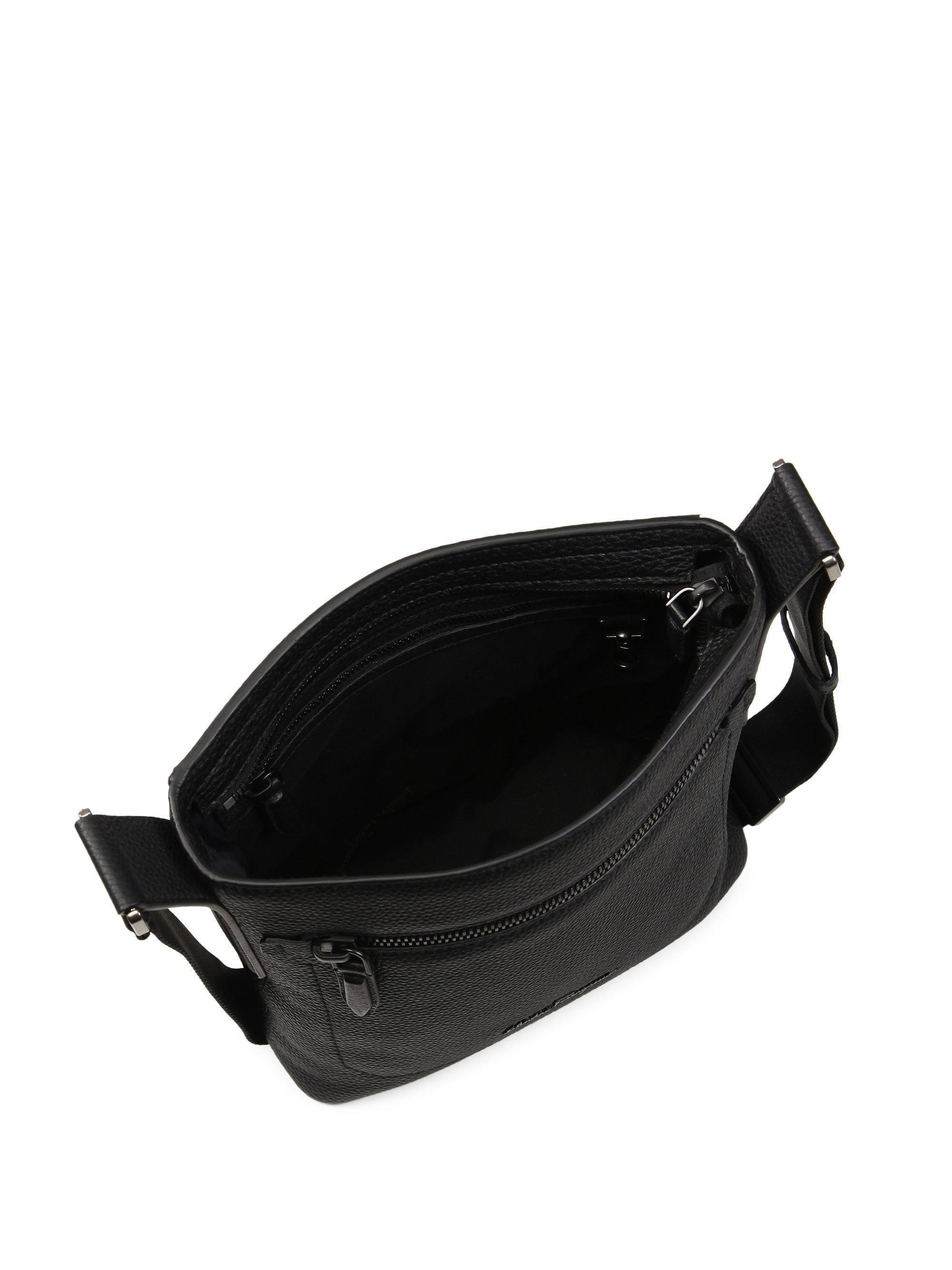 8c7b774c05 Lyst - Ferragamo Men s Muflone Leather Crossbody Bag - Black in ...