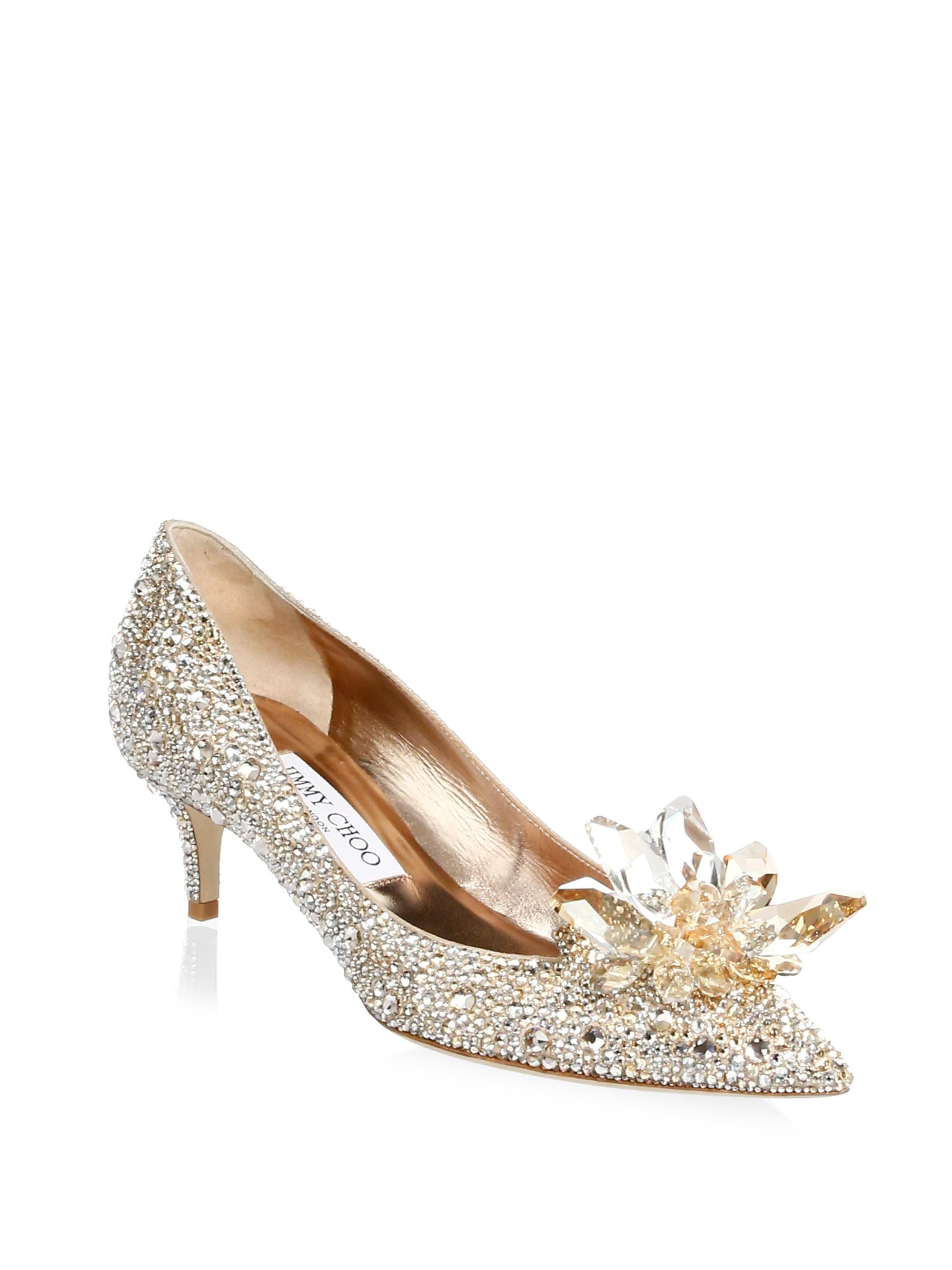 6a0a5884d65 Jimmy Choo Crystal Suede Point Toe Pumps in Metallic - Lyst