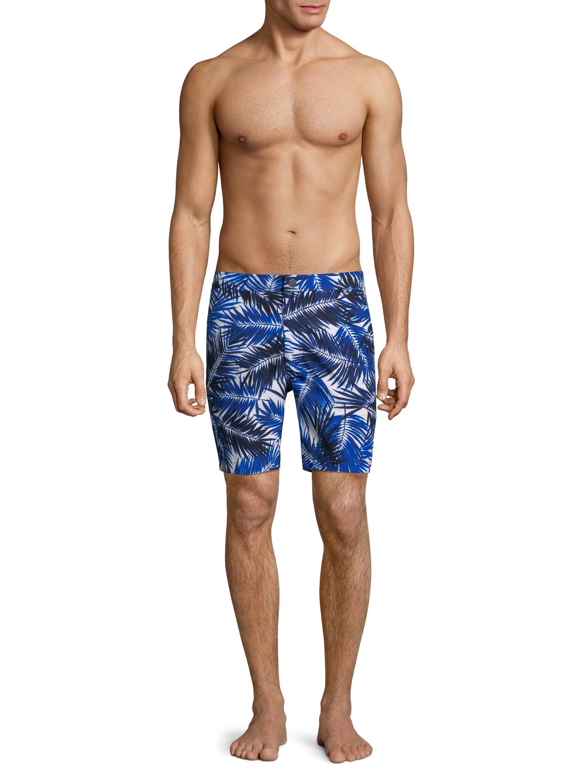 baa34f6b62 Onia - Blue Brushed Palm Calder Swim Trunks for Men - Lyst. View fullscreen
