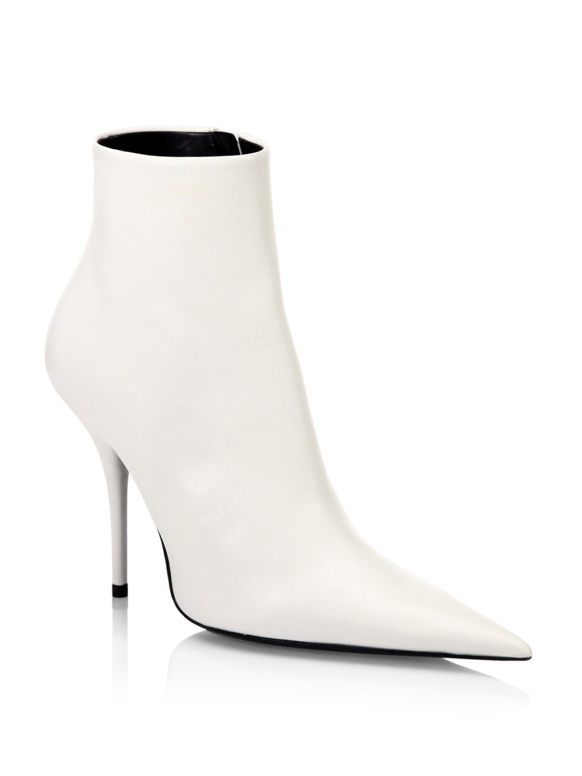 20aec3433c26 Lyst - Balenciaga Leather Stiletto Booties in White