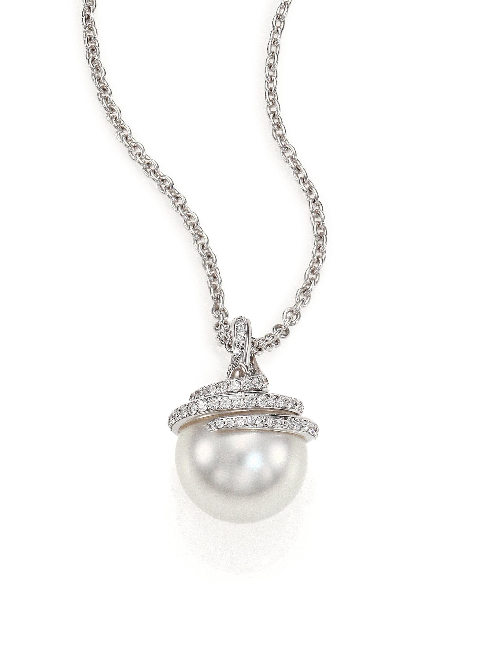 ee208b7b17f04 Mikimoto Metallic Twist 11mm White Cultured South Sea Pearl, Diamond & 18k  White Gold Pendant Necklace