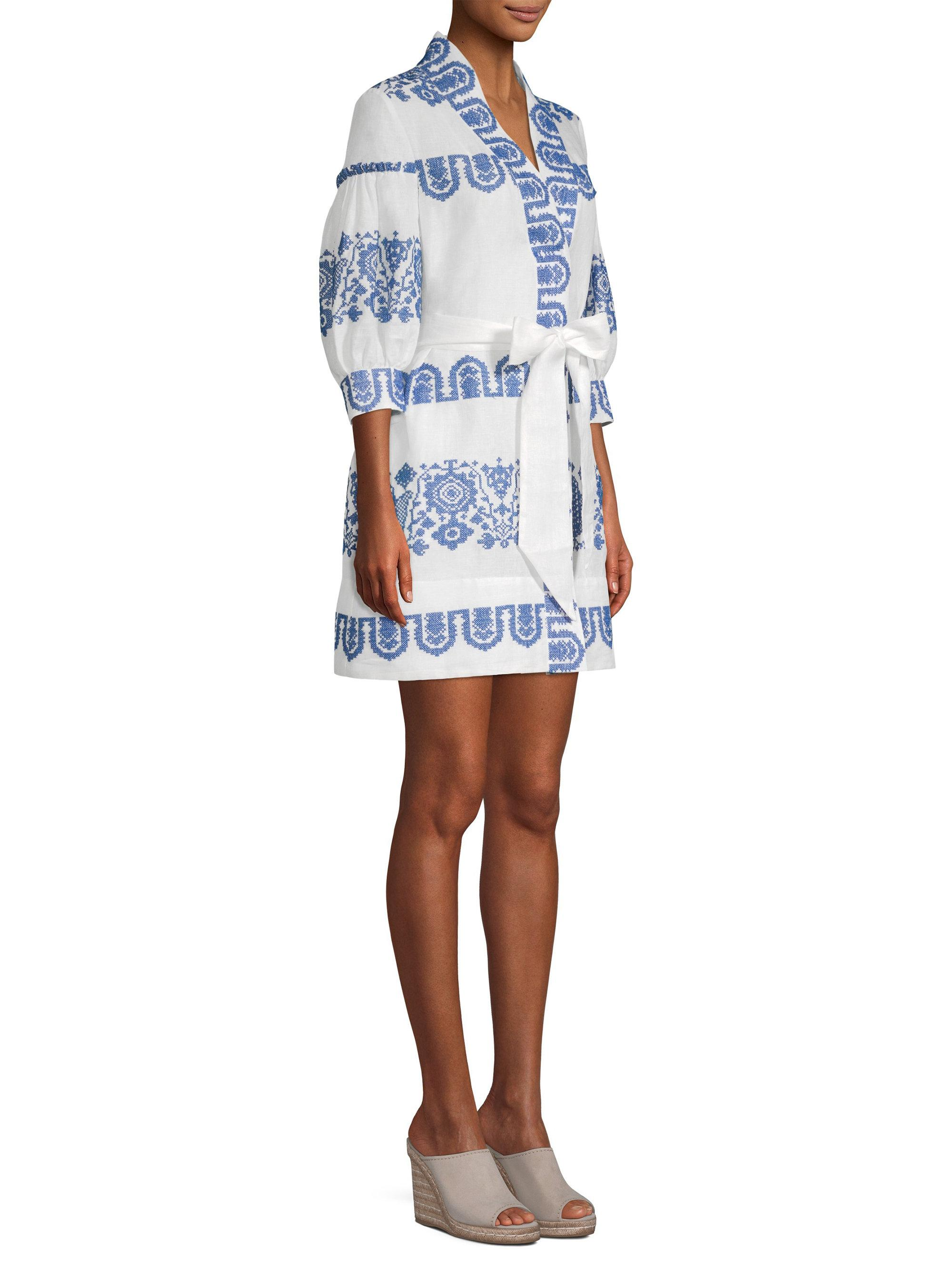 c22546b13b Lyst - MILLY Agnes Linen Dress in Blue