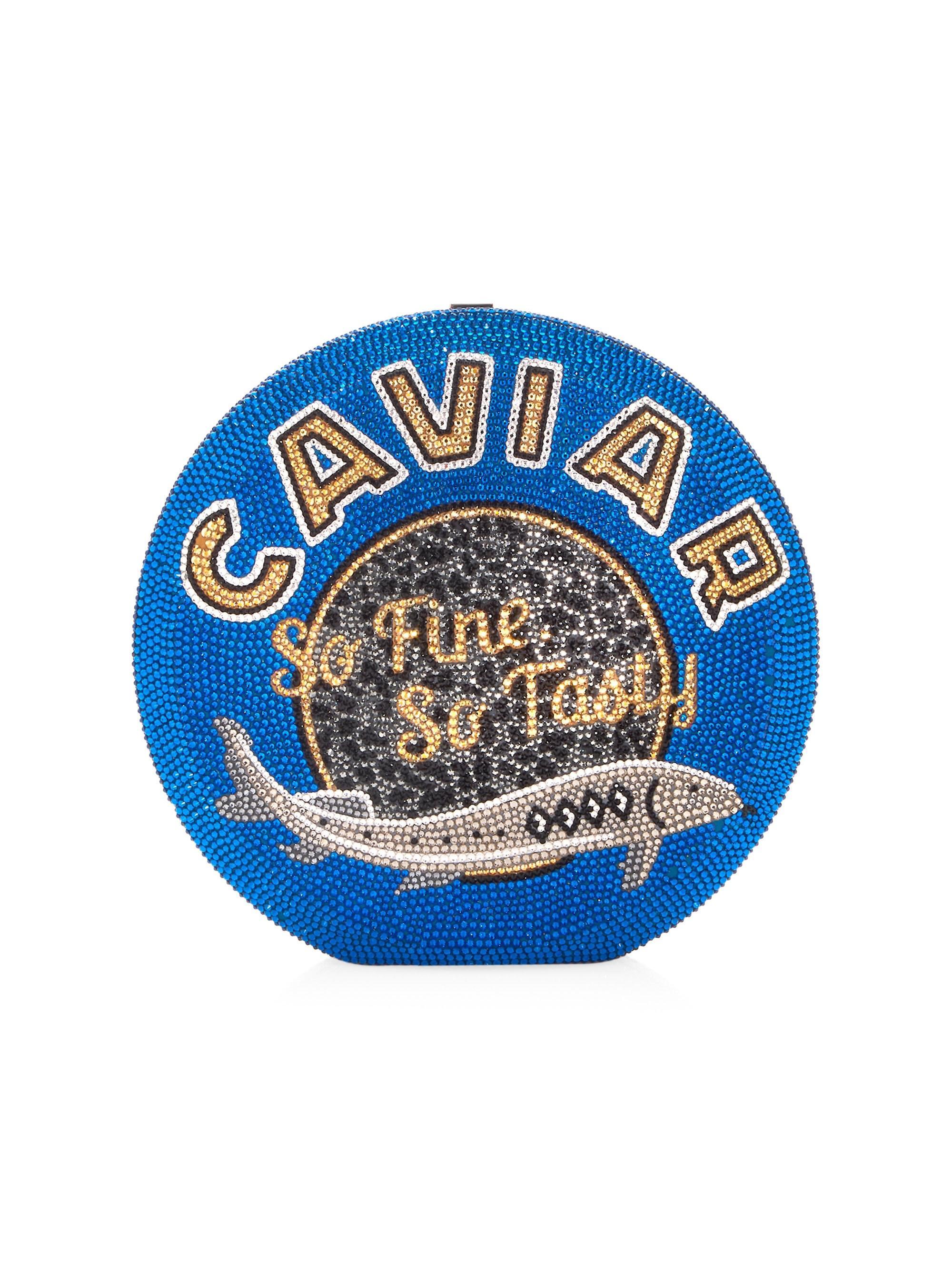 Judith Leiber Blue Crystal Caviar Disc Clutch