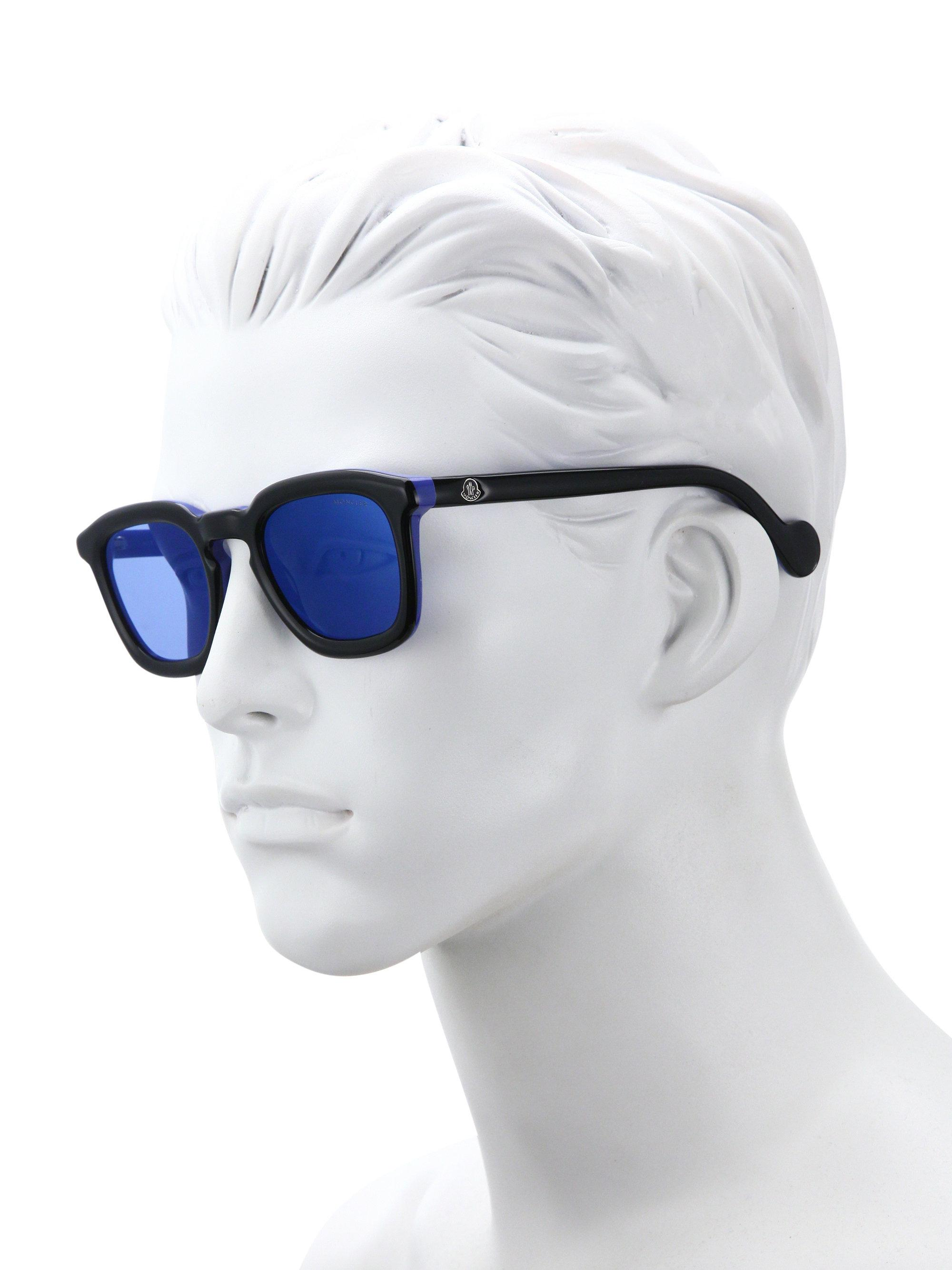 776473f15a Moncler Ml0006 Wayfarer Sunglasses in Blue for Men - Lyst