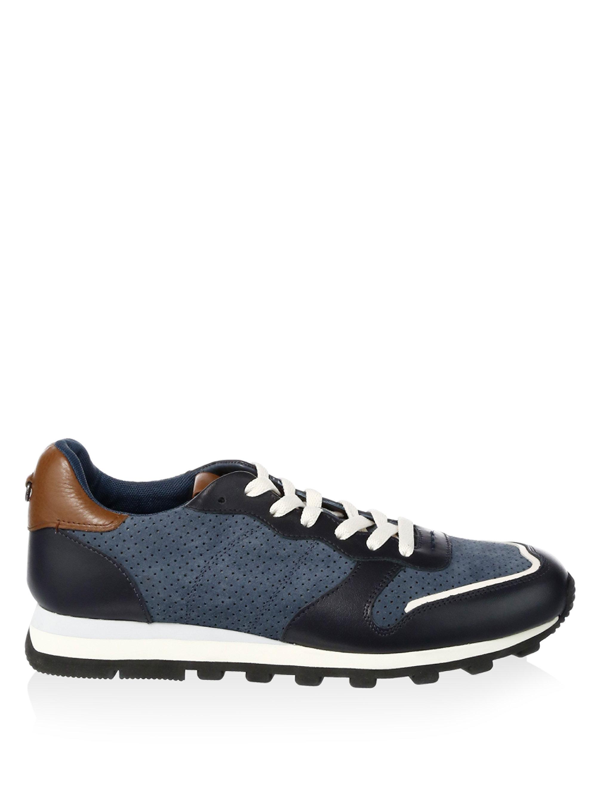 Coach Suede Perforated Leather Trim Running Sneakers In
