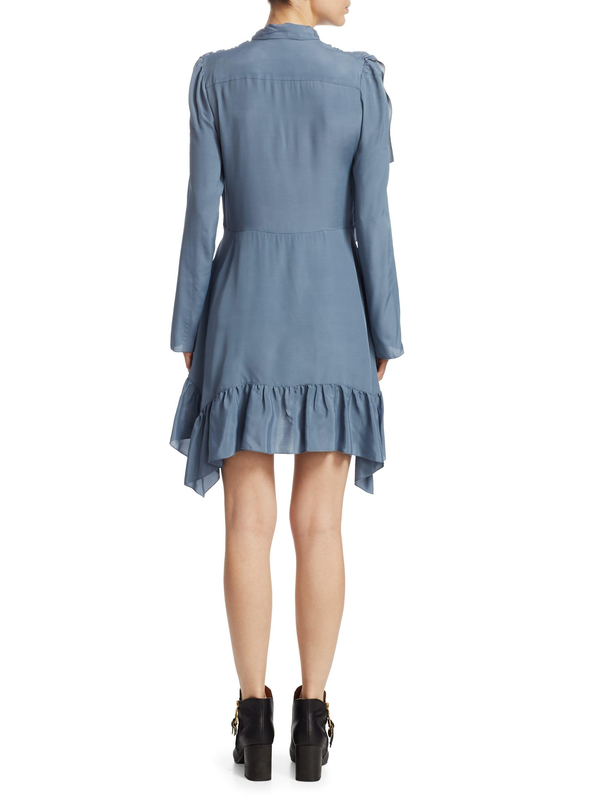 d798cd88ae Lyst - See By Chloé Crepe Tie Neck Mini Dress in Blue