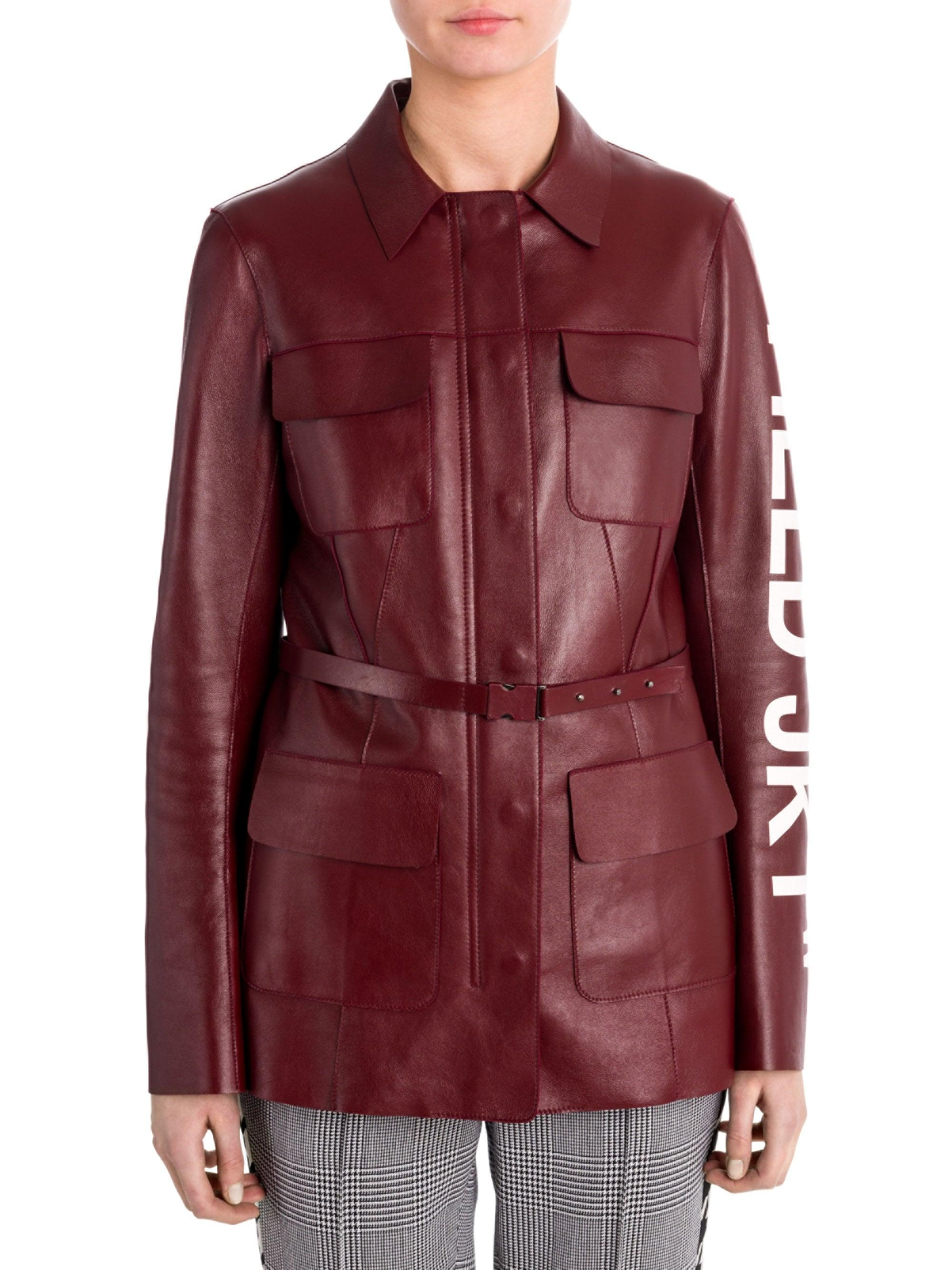 Off-White c o Virgil Abloh Women s Leather Field Jacket - Red - Size ... b0cb166d1