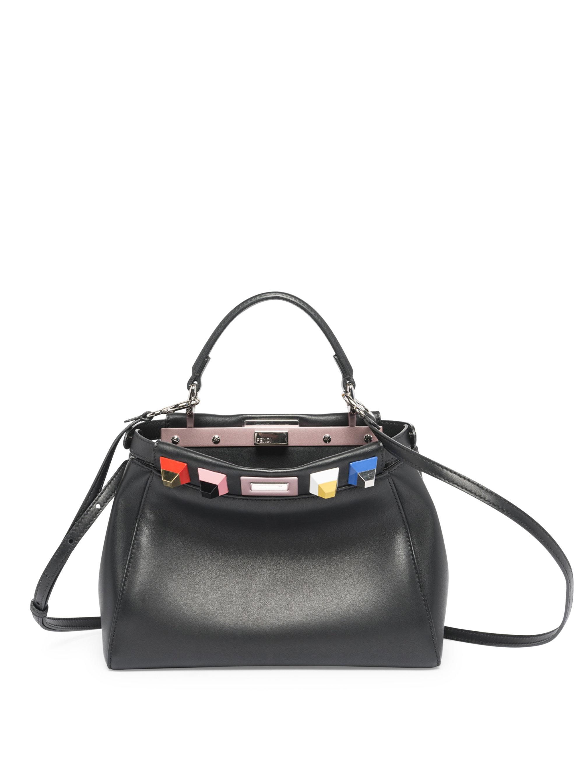 fcb5c301d858 Lyst - Fendi Mini Peekaboo Rainbow Studded Leather Satchel in Black