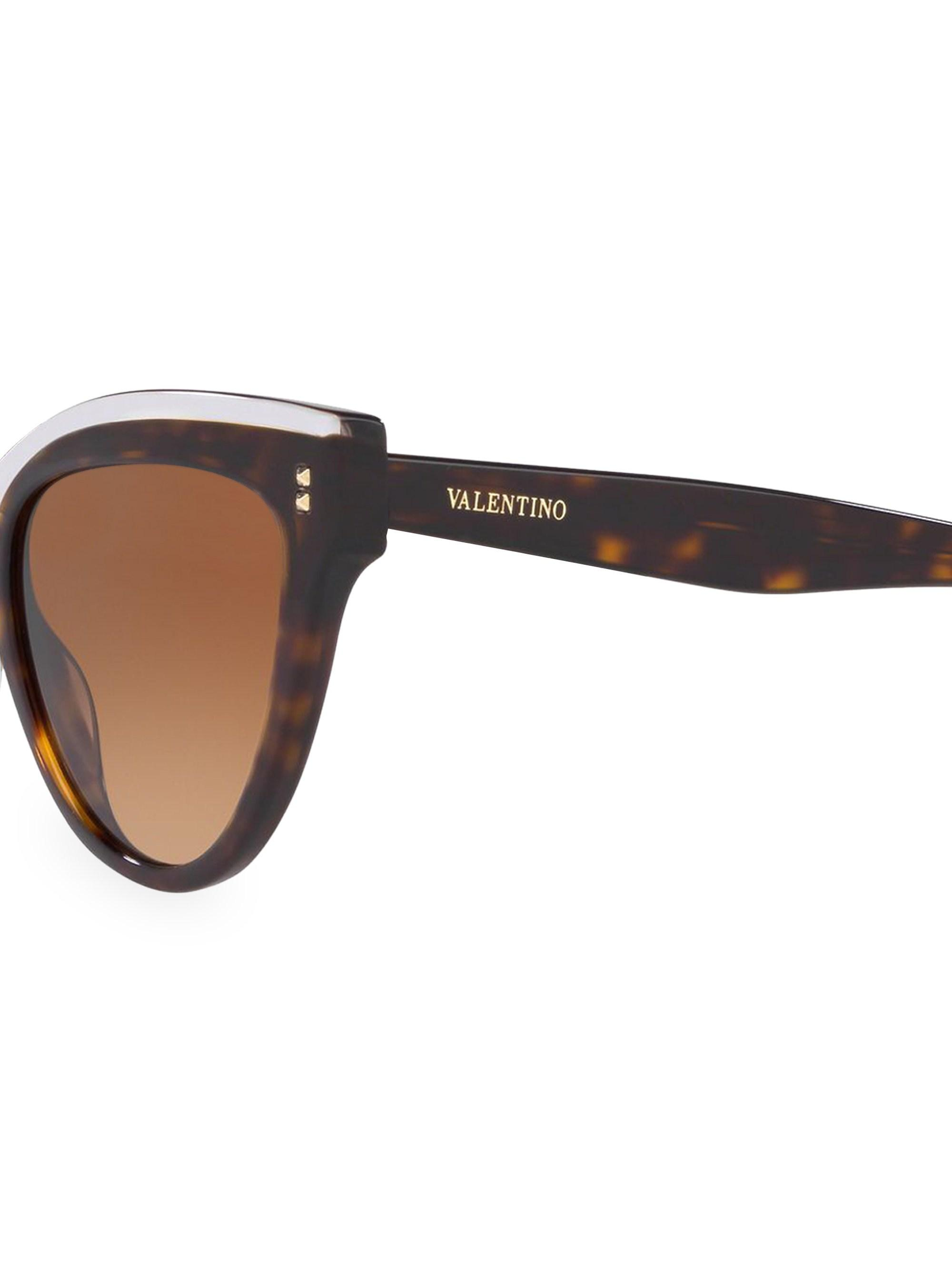 c1d4d49feabef Lyst - Valentino 54mm Havana Cat Eye Sunglasses in Brown