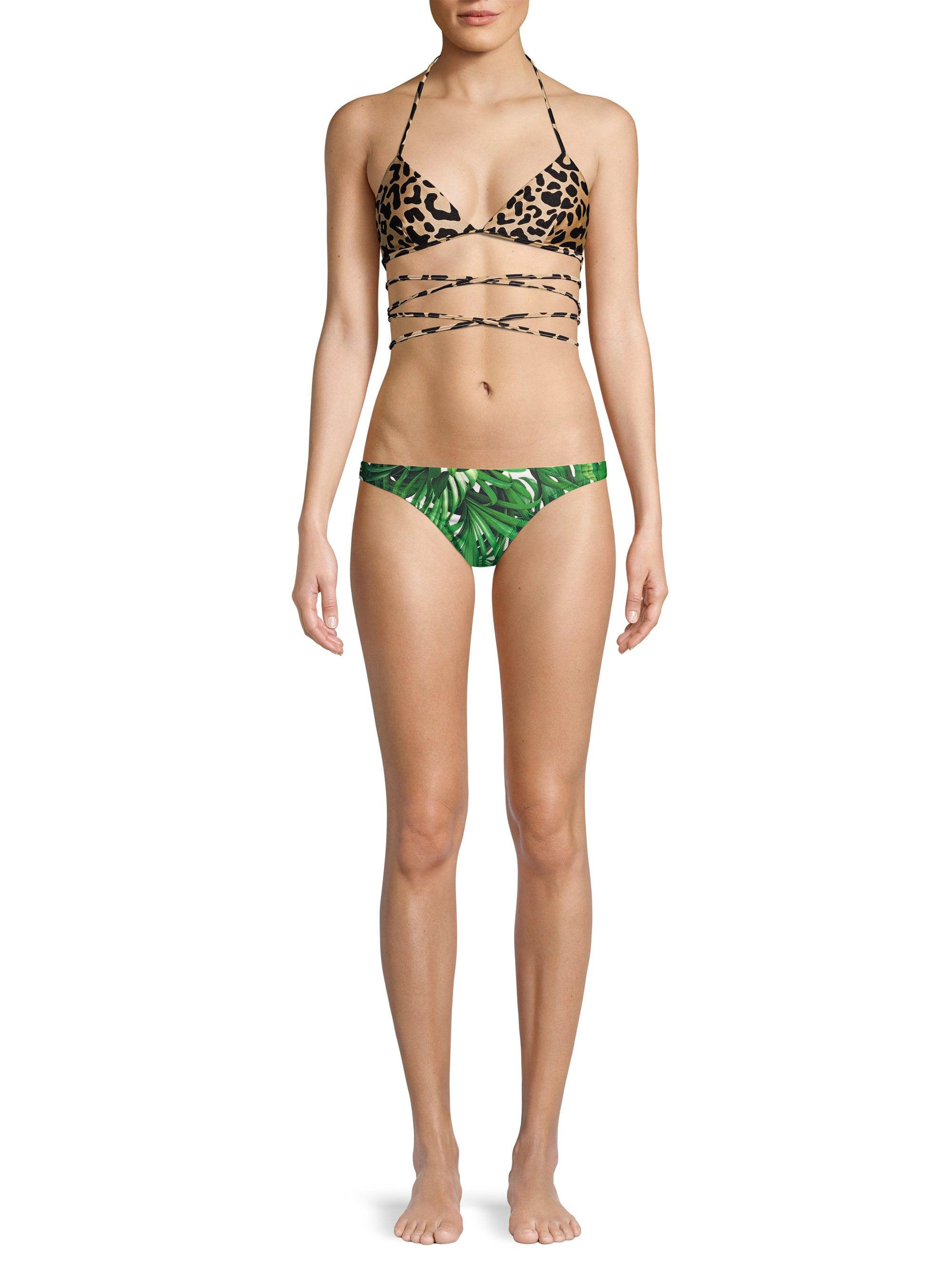 96f3f02753 Lyst - MILLY Women's Shimmer Leopard Print Wrap Triangle Bikini Top ...