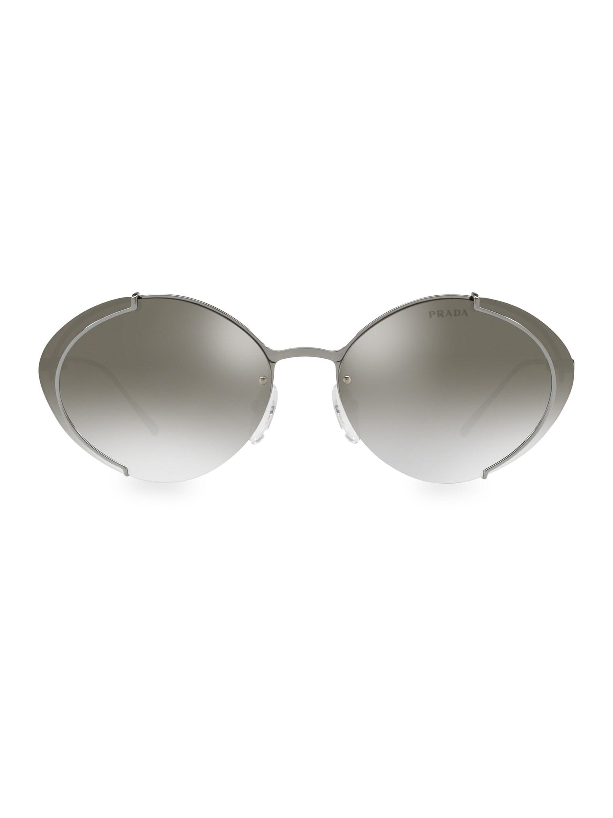 0f093b795d Prada - Gray Gunmetal Oval Sunglasses - Lyst. View fullscreen