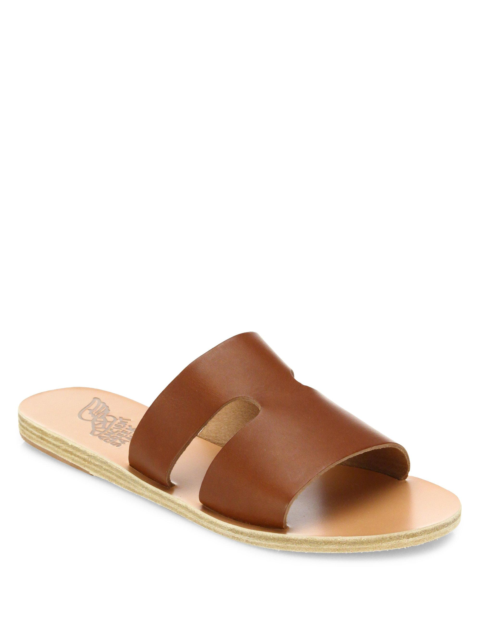 Apteros Woven Raffia And Leather Slides - Brown Ancient Greek Sandals XkrHs7