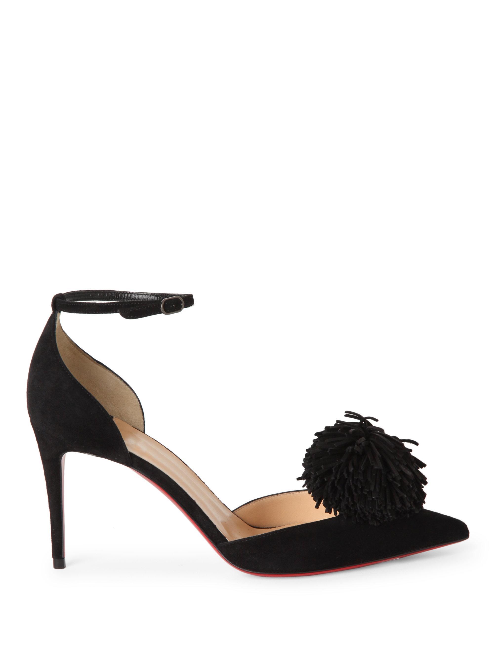 ddf36831fc1 Christian Louboutin Black Tsarou 100 Suede D'orsay Ankle-strap Pumps
