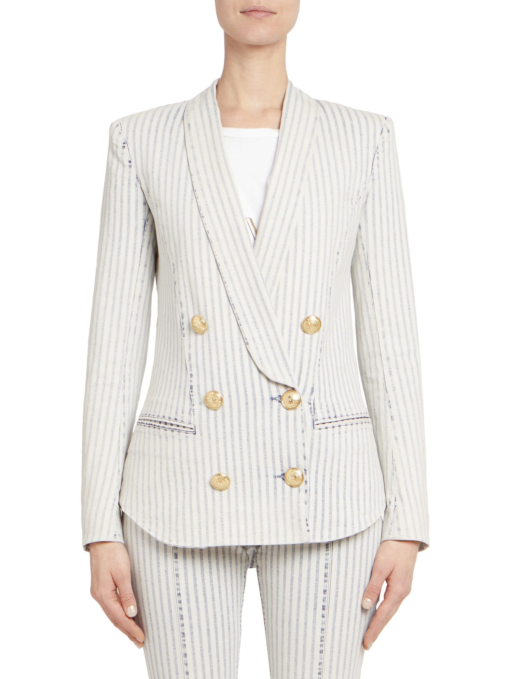 ed9c90b6 Lyst - Balmain Stripe Double-breasted Pyjama Jacket in White