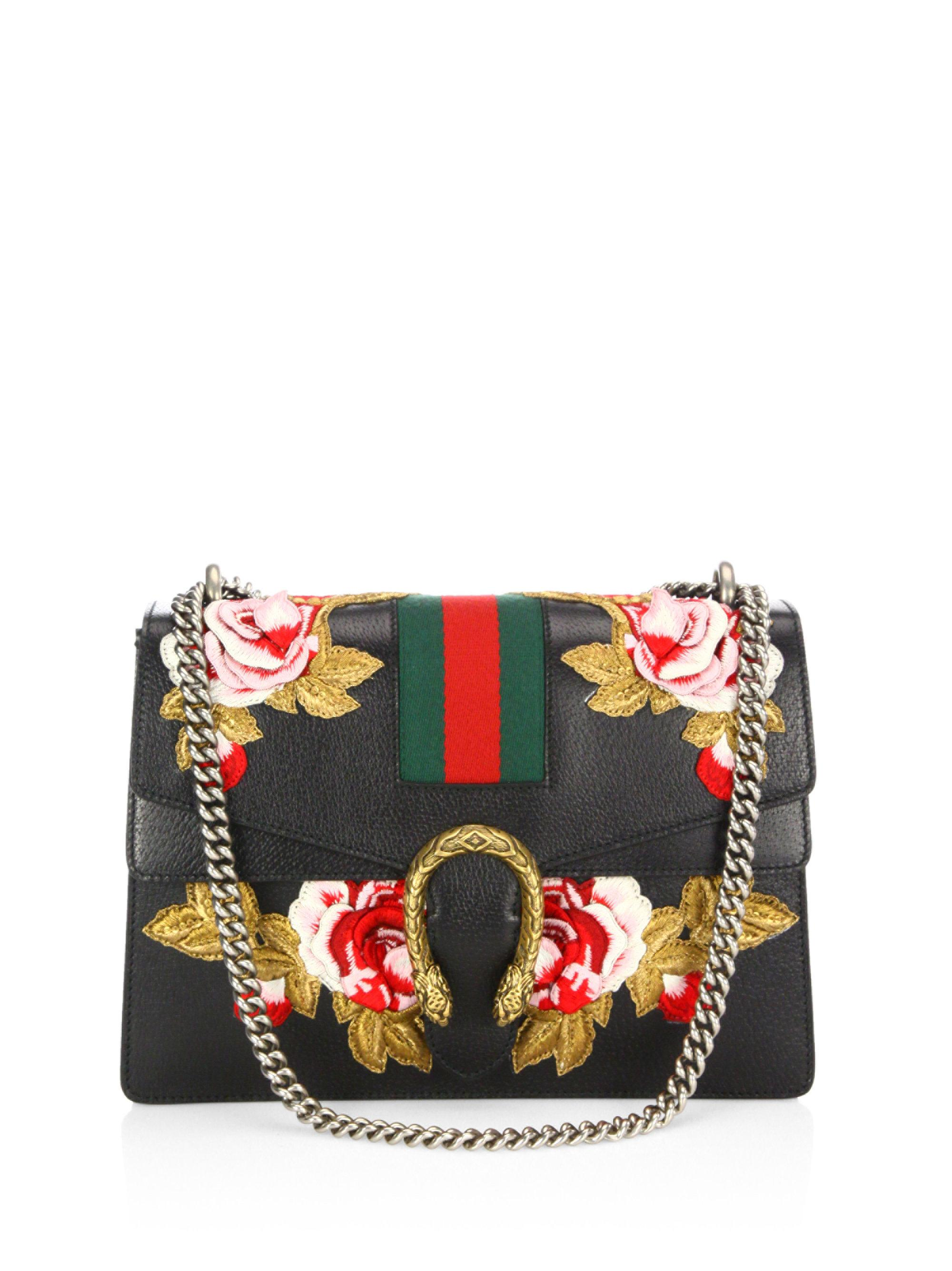 Lyst gucci dionysus rose embroidered leather shoulder