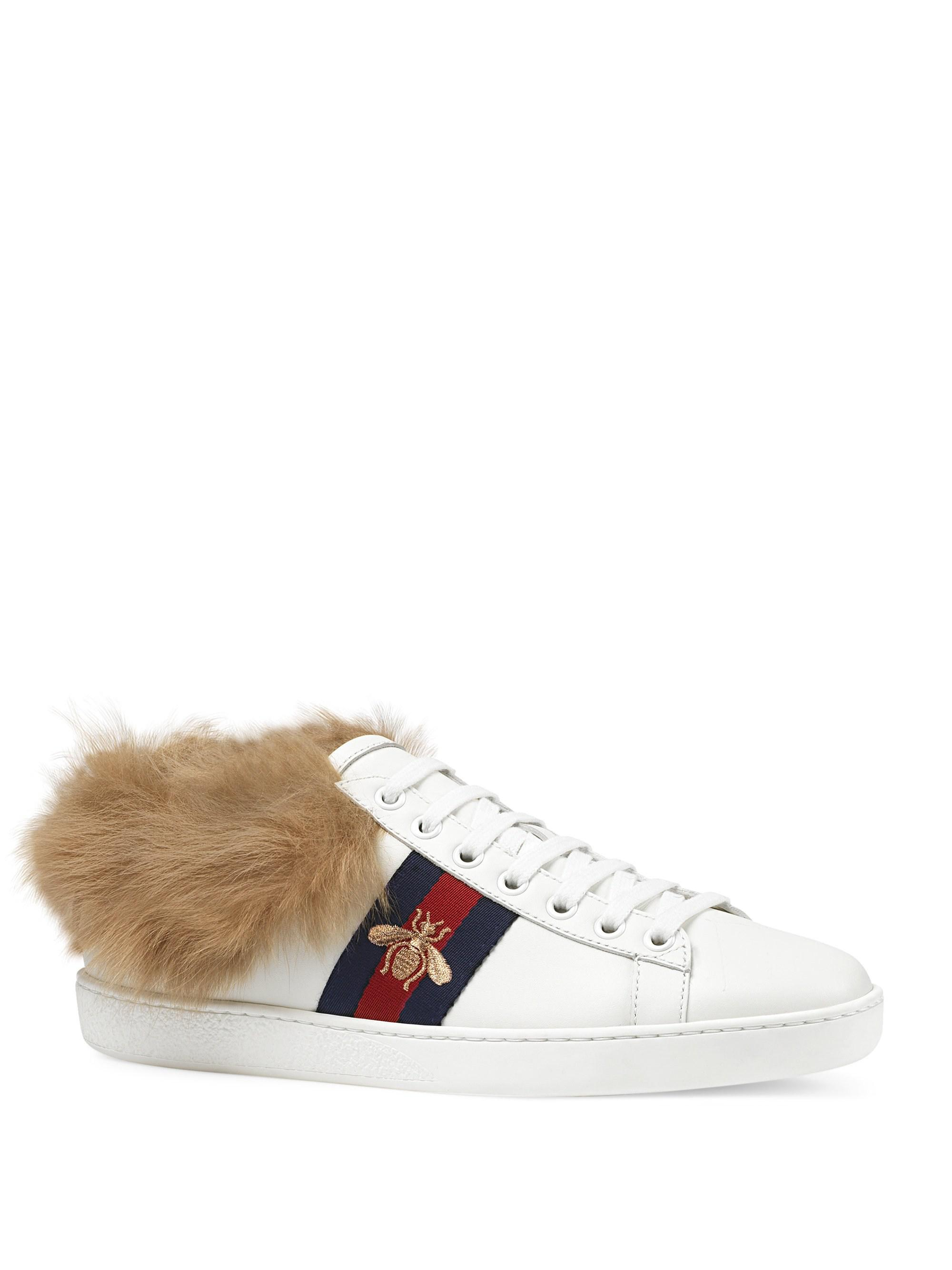 75b2cefa4f3 Gucci Women s New Ace Sneakers With Fur - White - Size 37.5 (7.5) in ...