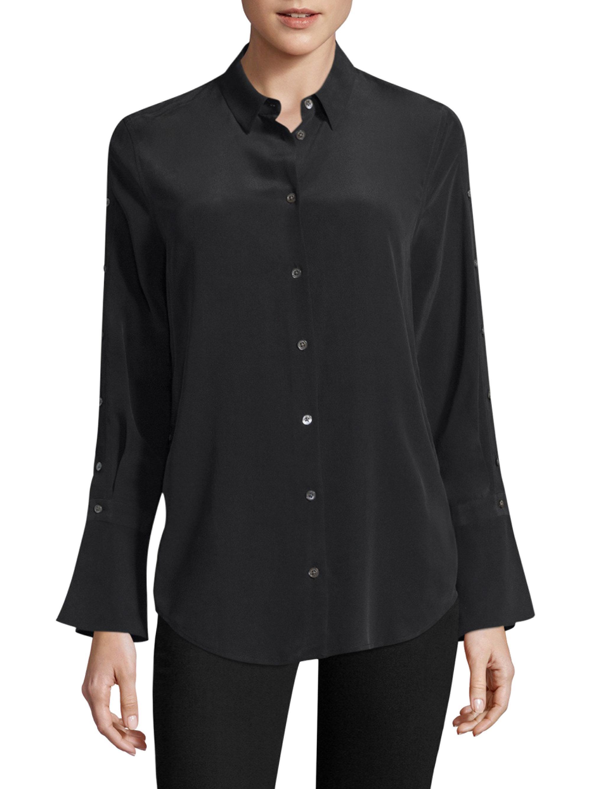 Lyst equipment rossi button sleeve shirt in black for Equipment black silk shirt