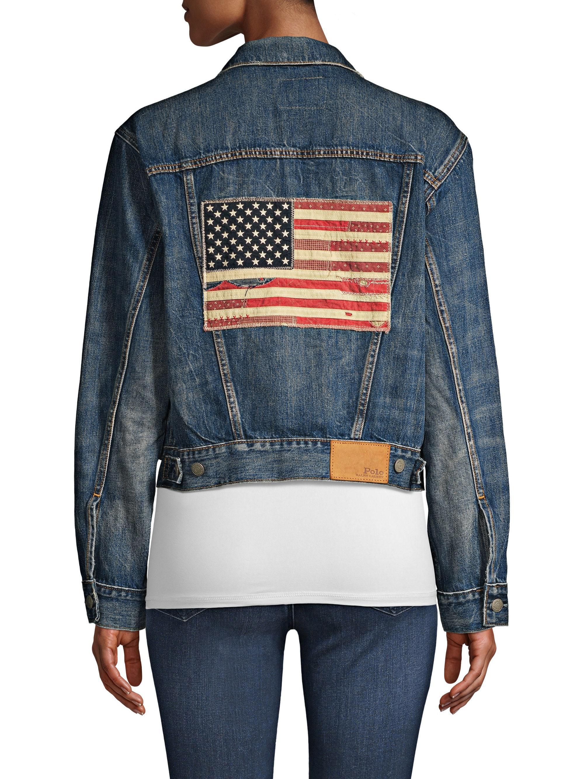 5c1c320bc Polo Ralph Lauren Blue American Flag Trucker Denim Jacket