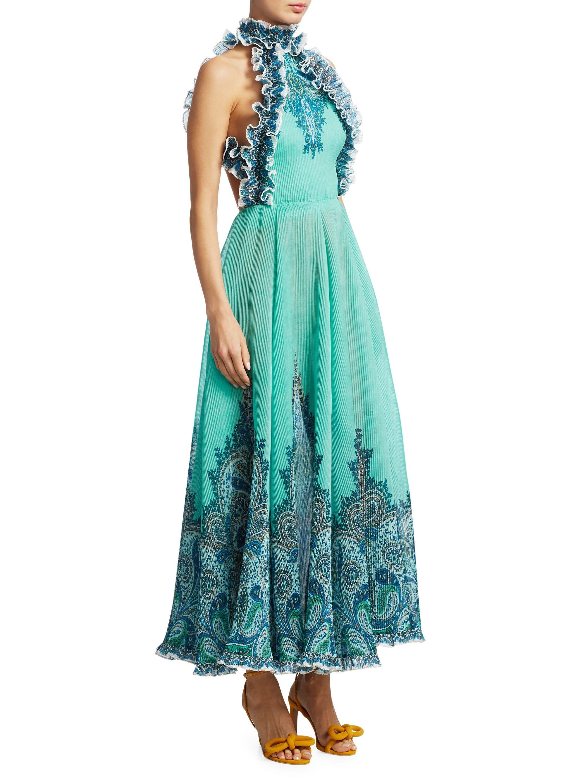 dcf595bd3c037 Zimmermann Moncur Ruffle-neck Printed Pinafore Gown in Blue - Lyst