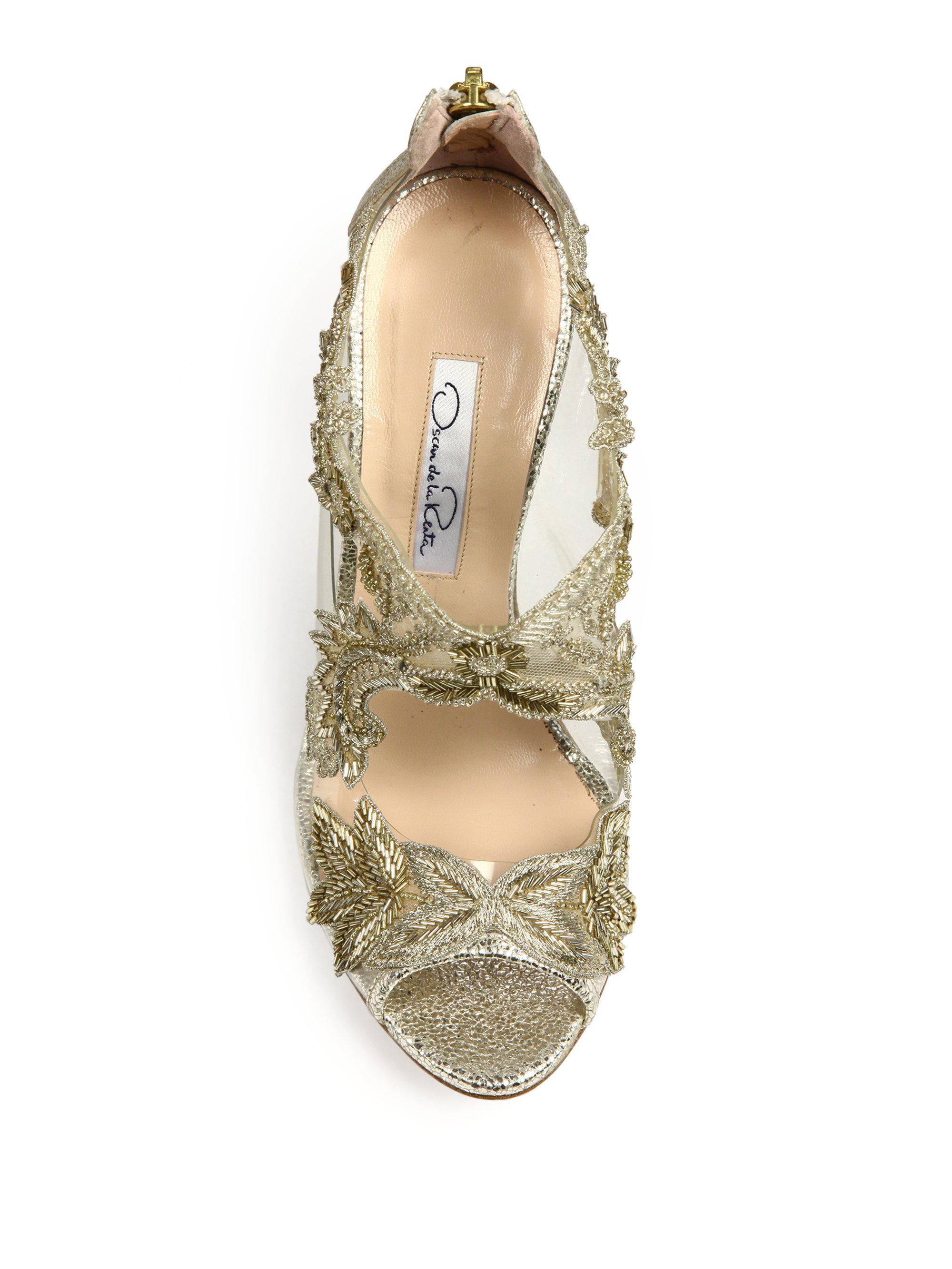 Oscar de la Renta | Ambria Embroidered Metallic Peep Toe Sandals | Lyst.  View Fullscreen