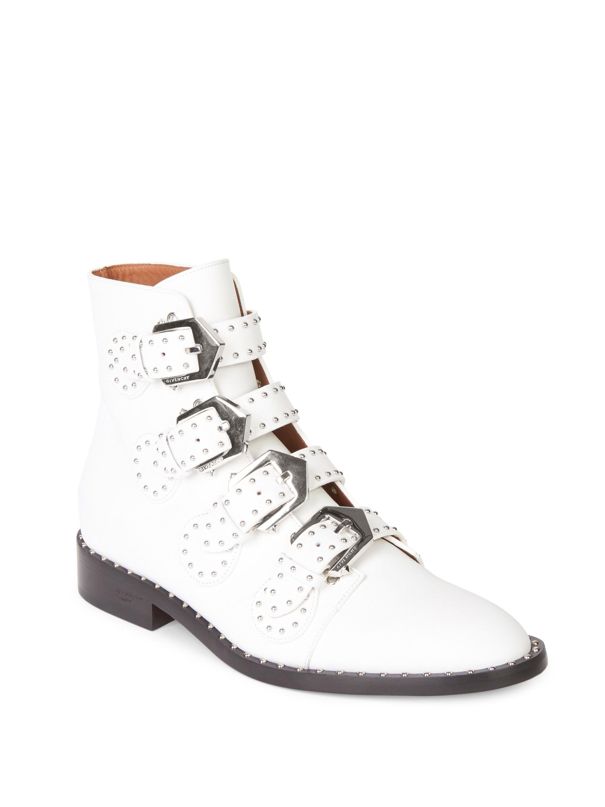 Lyst - Givenchy Studded Leather Buckled Ankle Boots in White fdf652e3c5