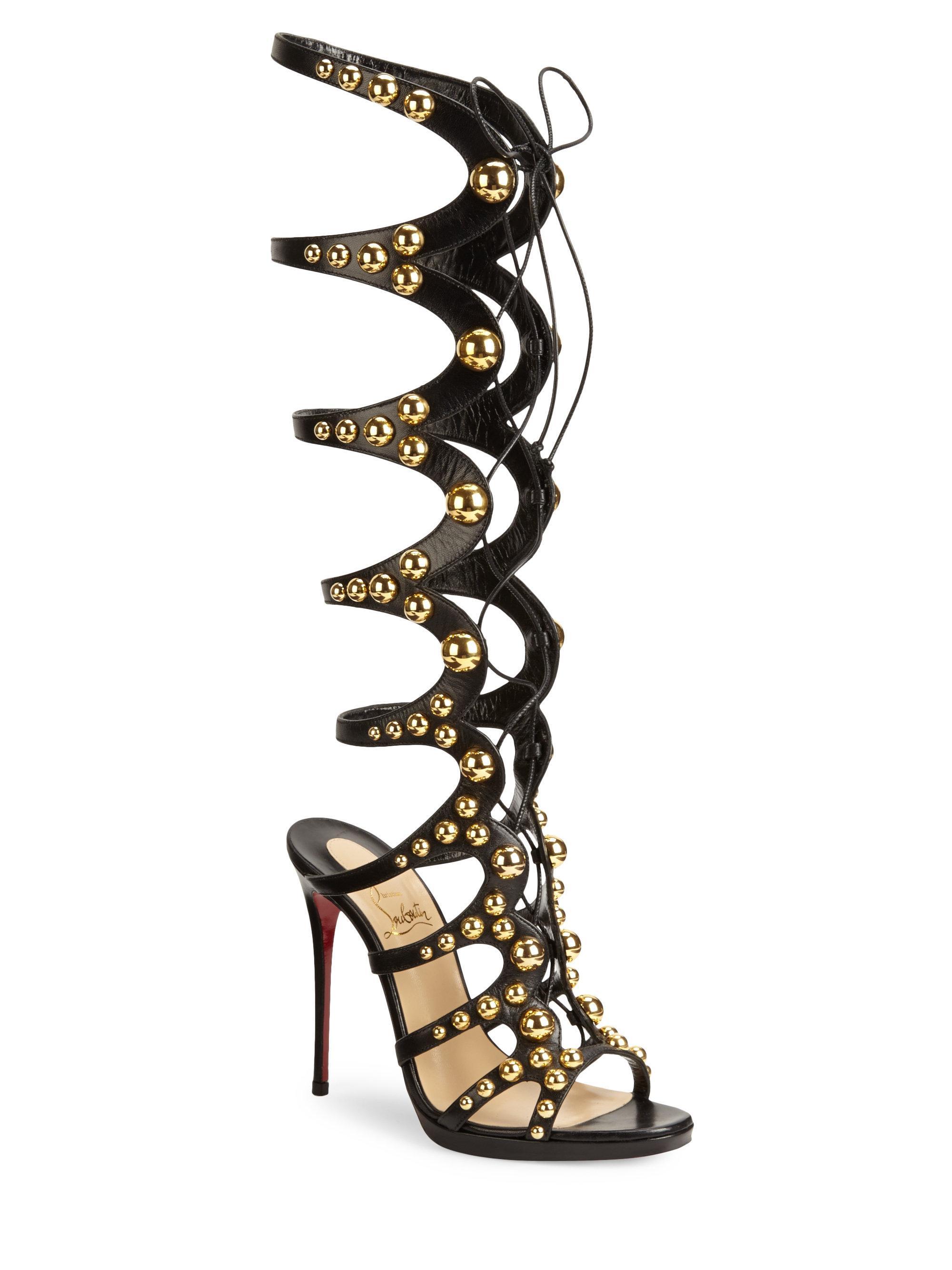 the latest 034fb c7aa5 Christian Louboutin Black Amazoutiful Knee-high Leather Gladiator Heels