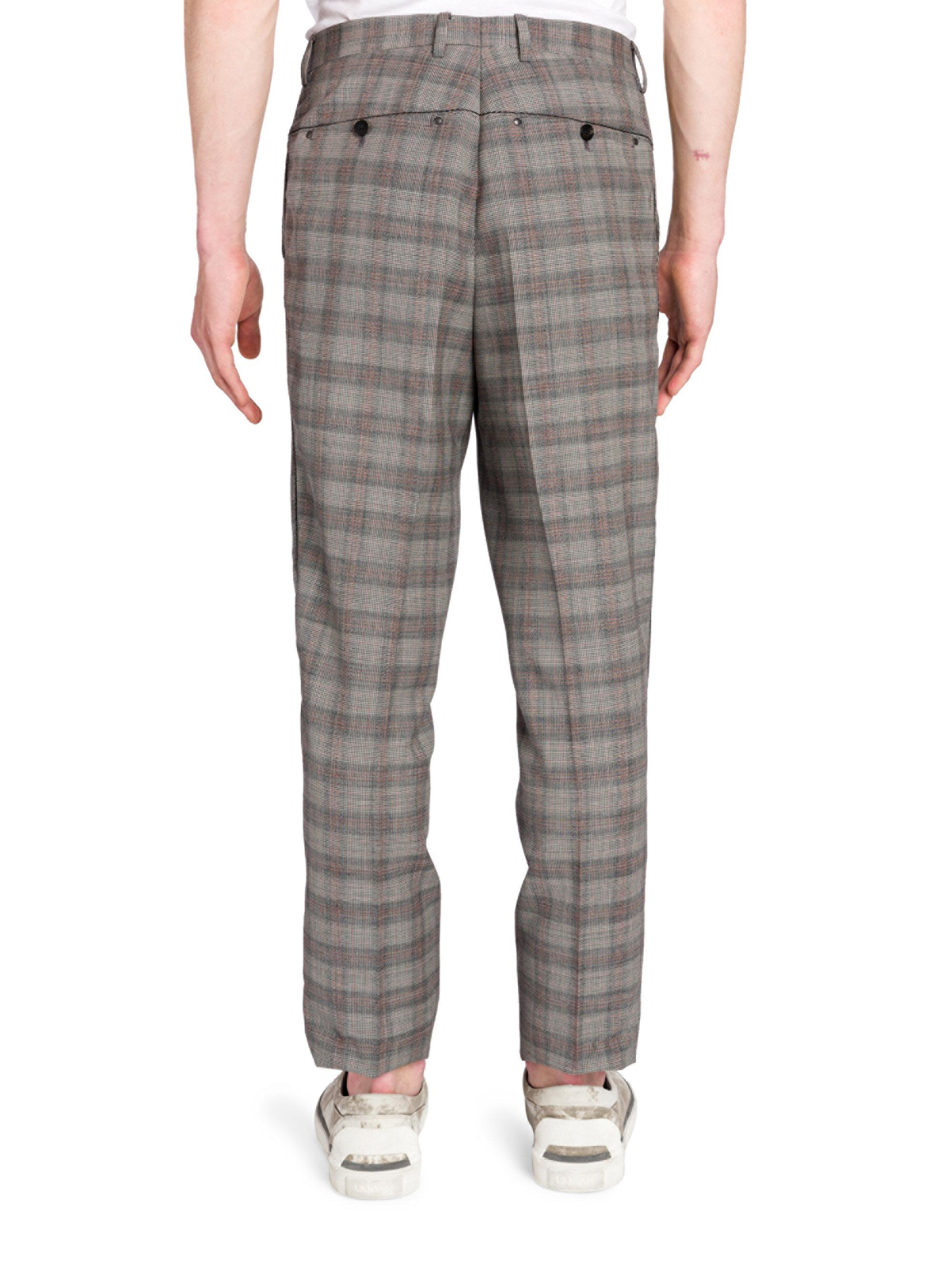 46343d0704 Lanvin Gray Riveted Prince Of Wales Wool Pants for men