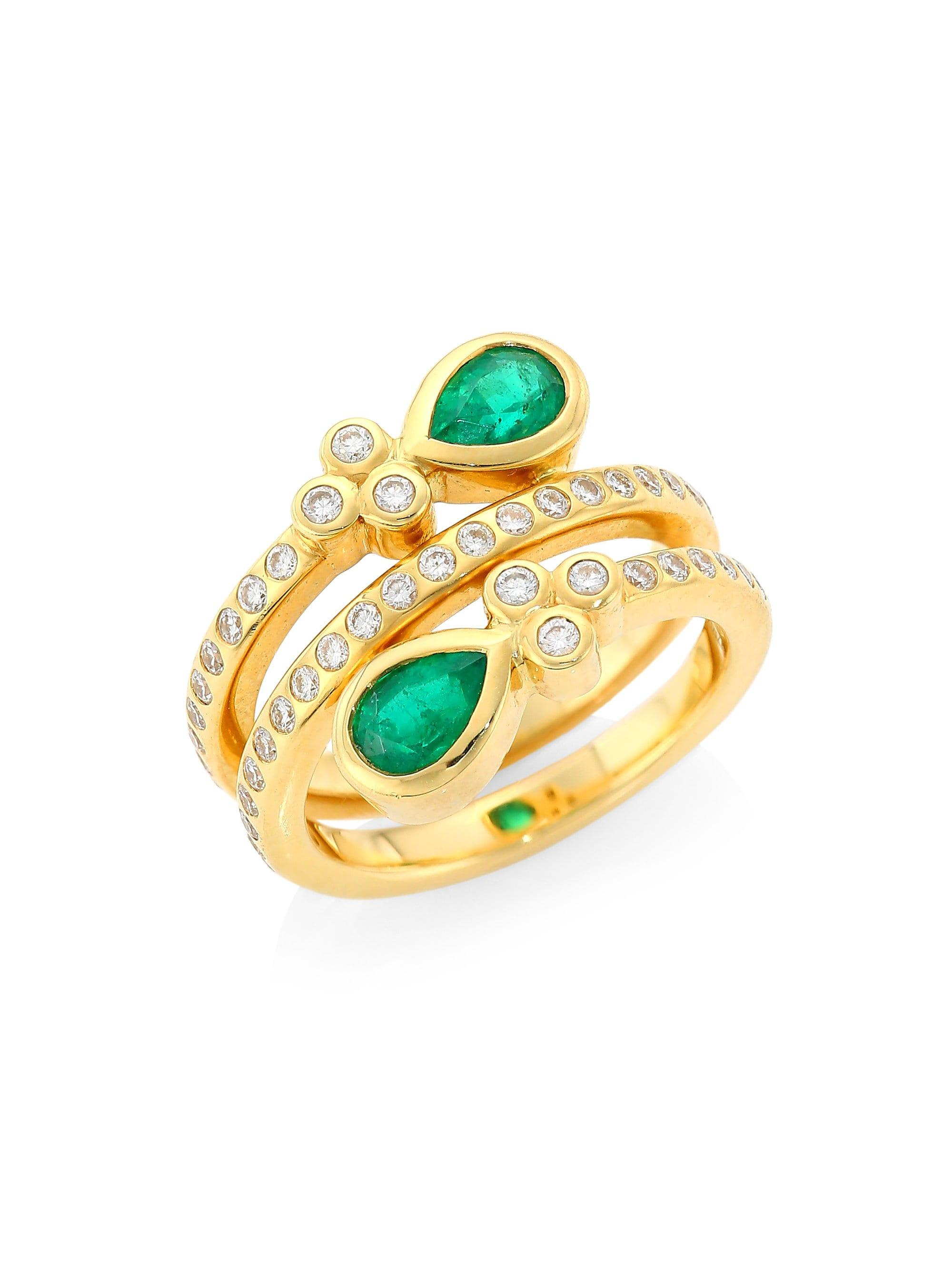 Temple St  Clair Metallic 18k Yellow Gold, Emerald & Diamond Mummy Ring -  Gold