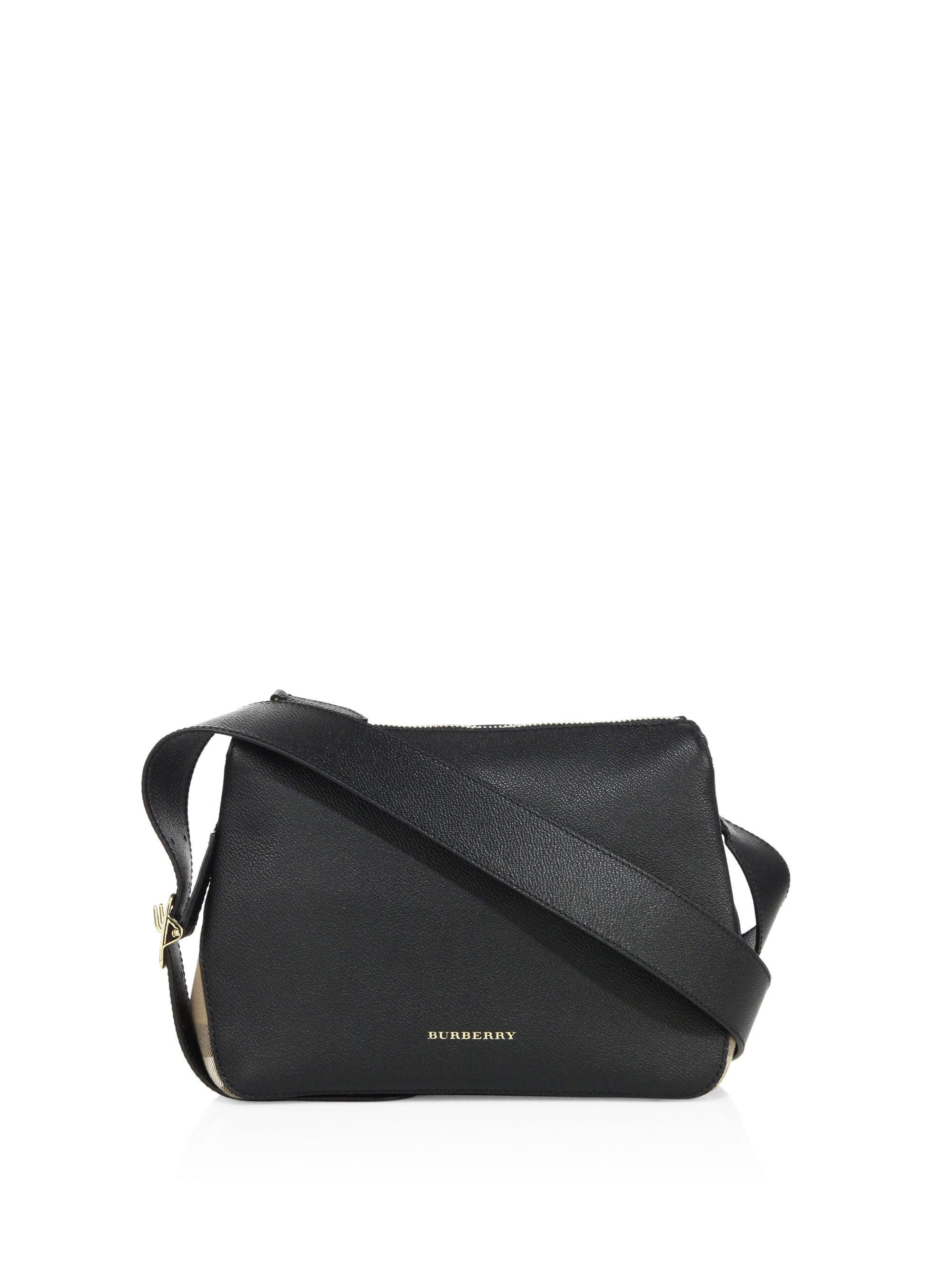 277c16324483 Burberry Helmsley Small Leather   House Check Crossbody Bag in Black ...