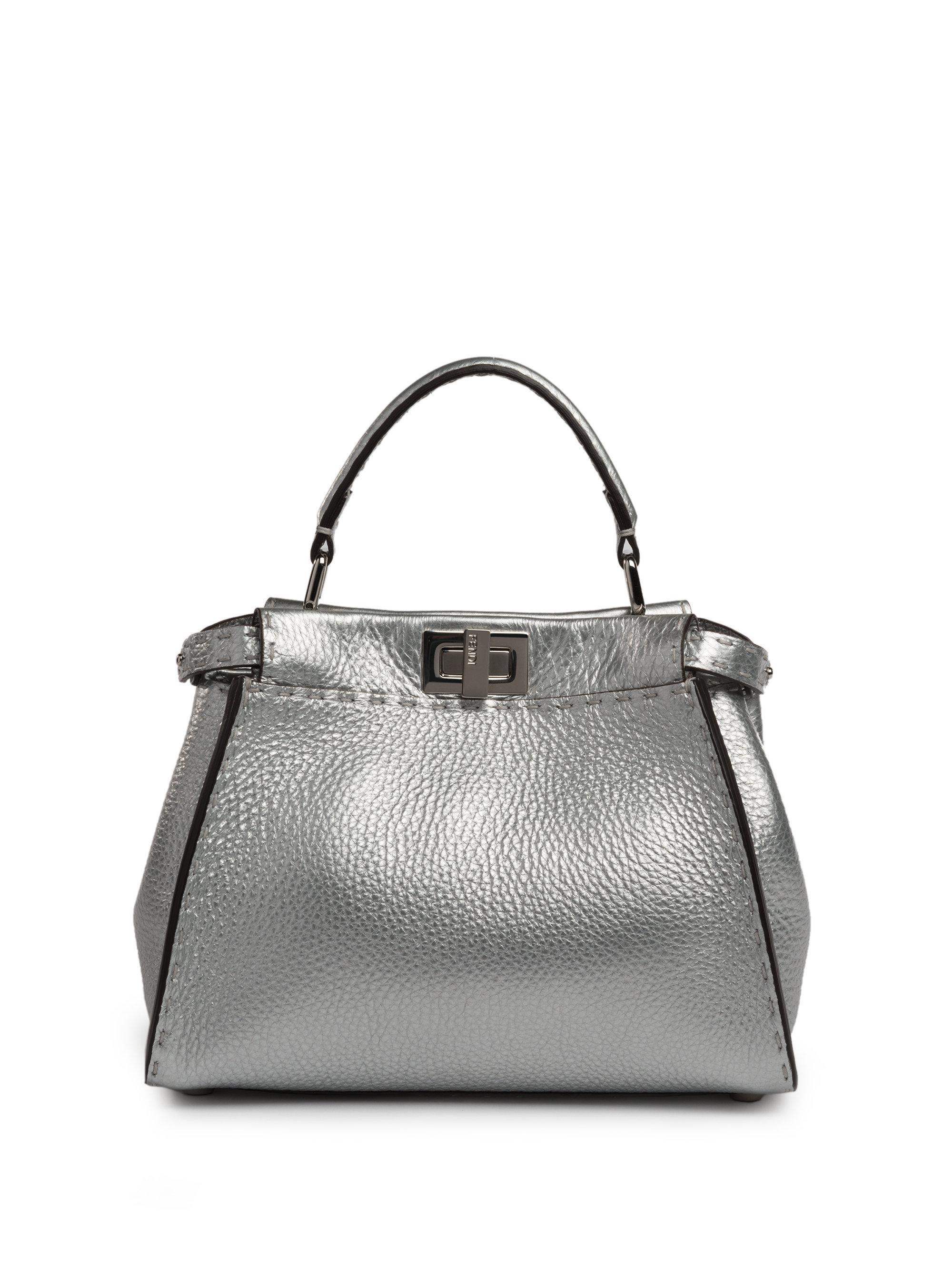 aa9cf47c1f ... germany lyst fendi selleria peekaboo mini metallic leather satchel in  metallic d9a1a 80351 ...