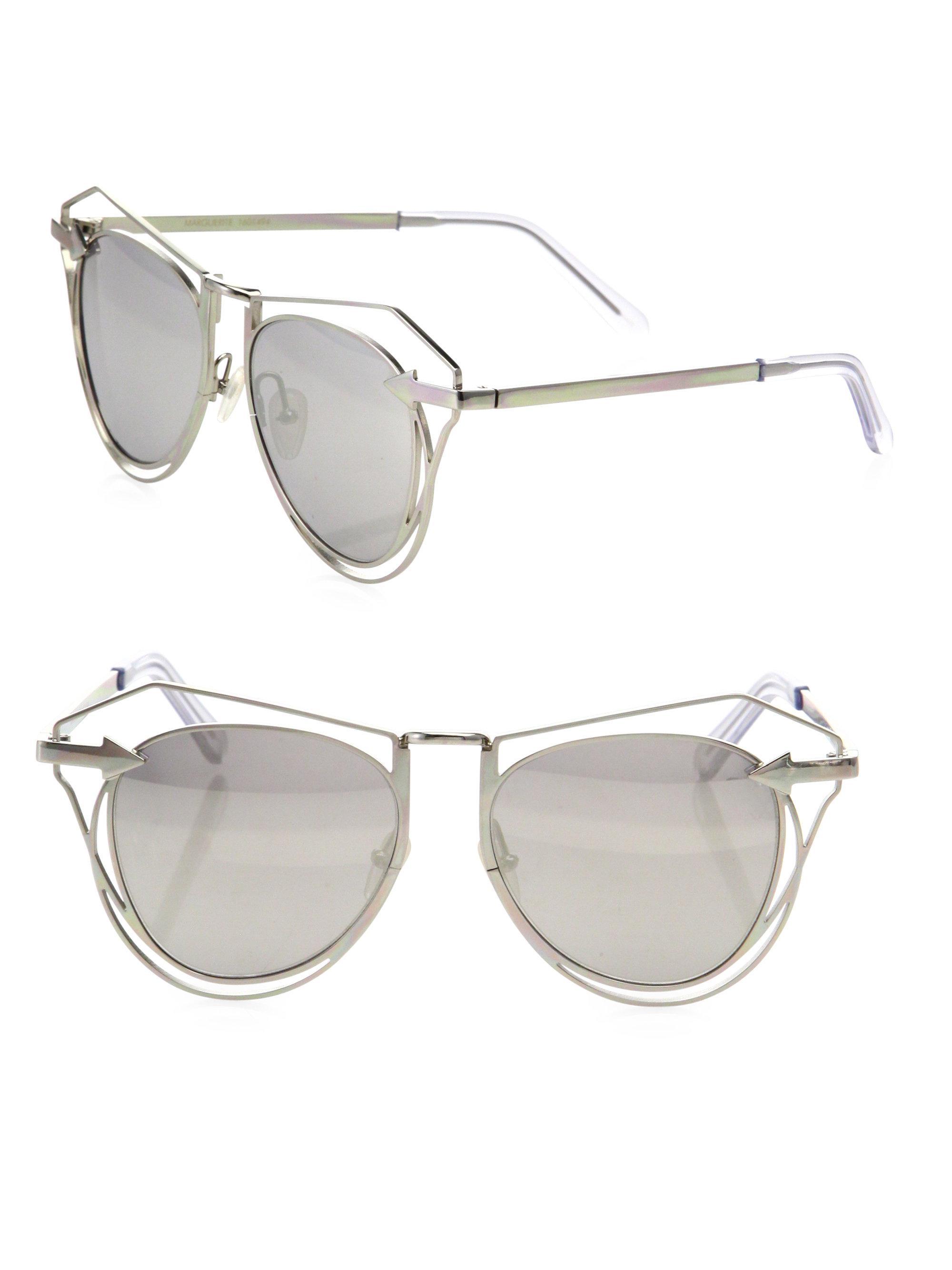 703df7d0a52 Lyst - Karen Walker Marguerite 52mm Mirrored Cutout Cat Eye ...