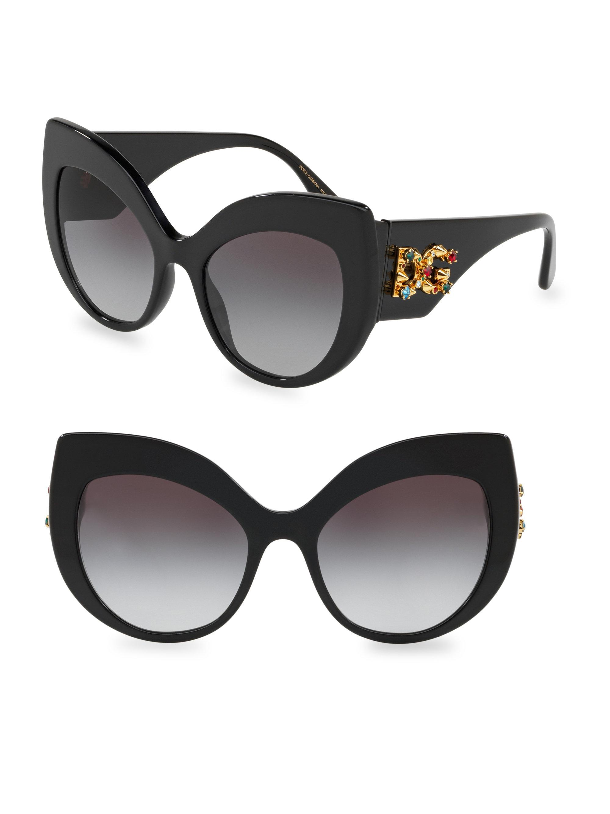 bcdb0fa80006 Lyst - Dolce   Gabbana 55mm Cat Eye Sunglasses in Black
