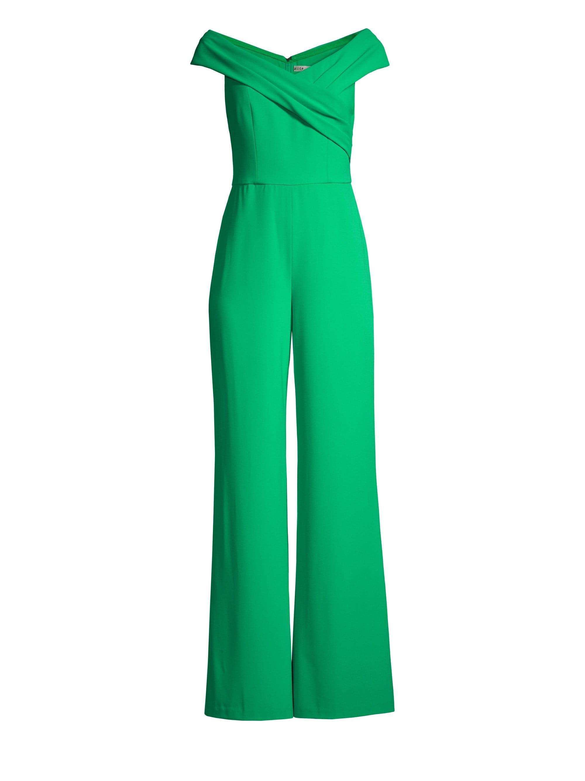 b71c4506b44 Lyst - Alice + Olivia Kaye Wrap Shoulder Jumpsuit in Green