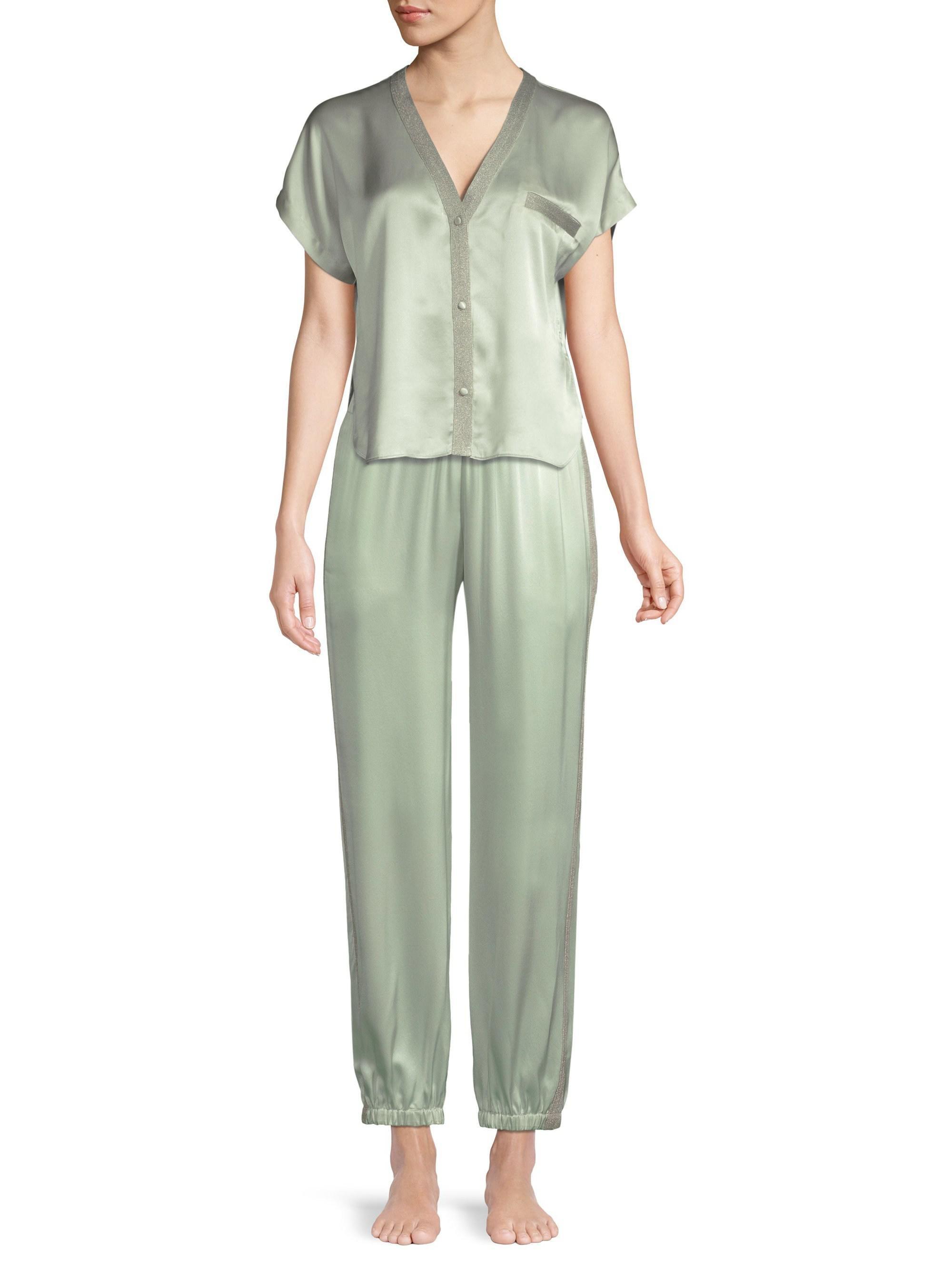 ecd7190905 Lyst - Morgan Lane Camille Silk Pajama Pants in Green