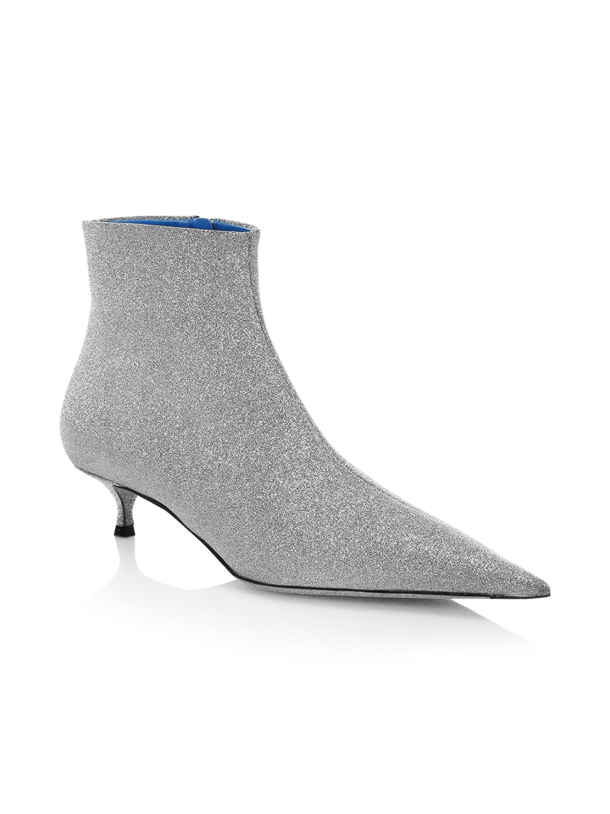 1663fa0f90 Lyst - Balenciaga Leather Glitter Kitten Heel Booties in Gray