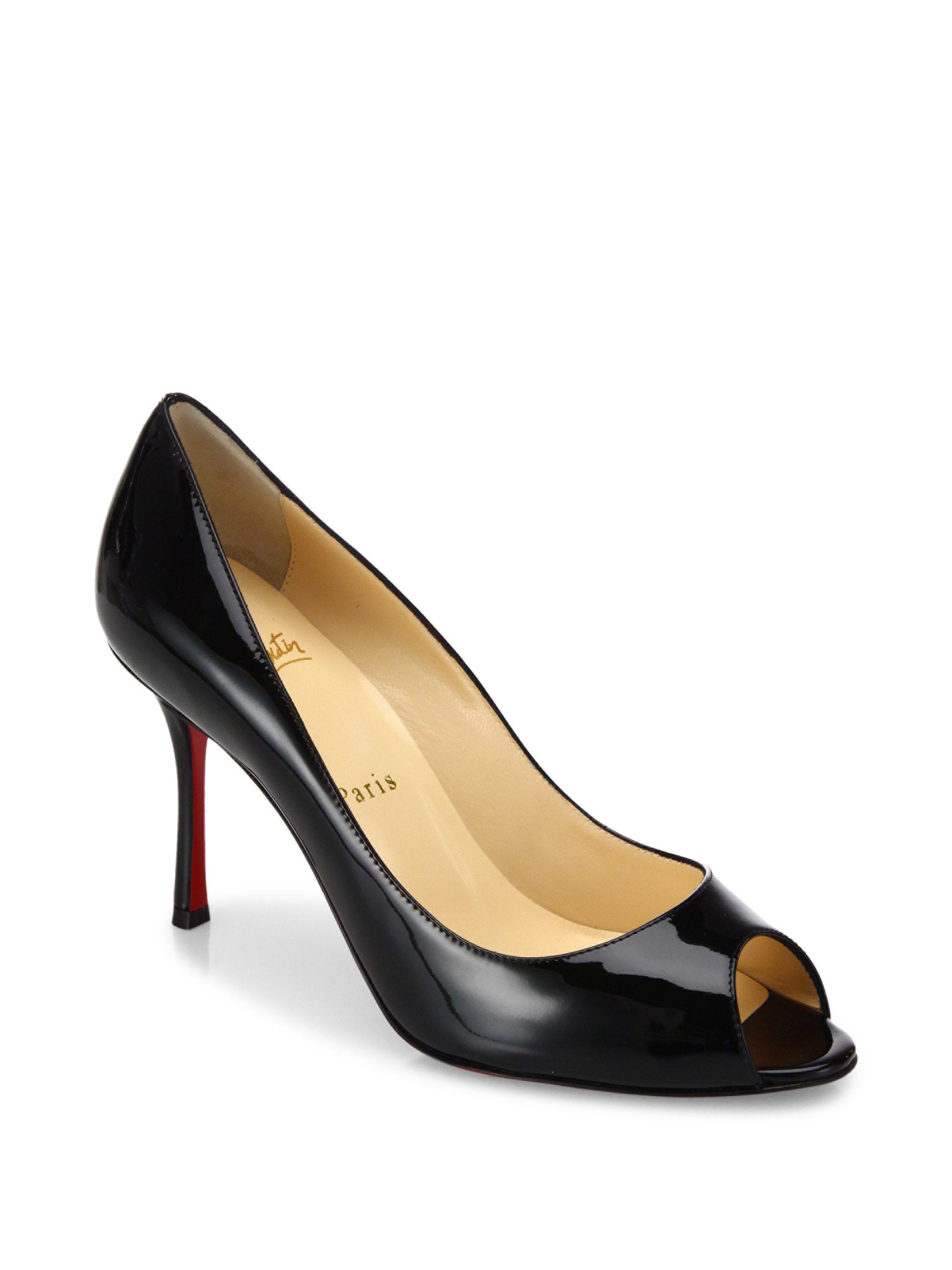 ec711c3066 Christian Louboutin Yootish 85 Patent Leather Peep Toe Pumps in ...