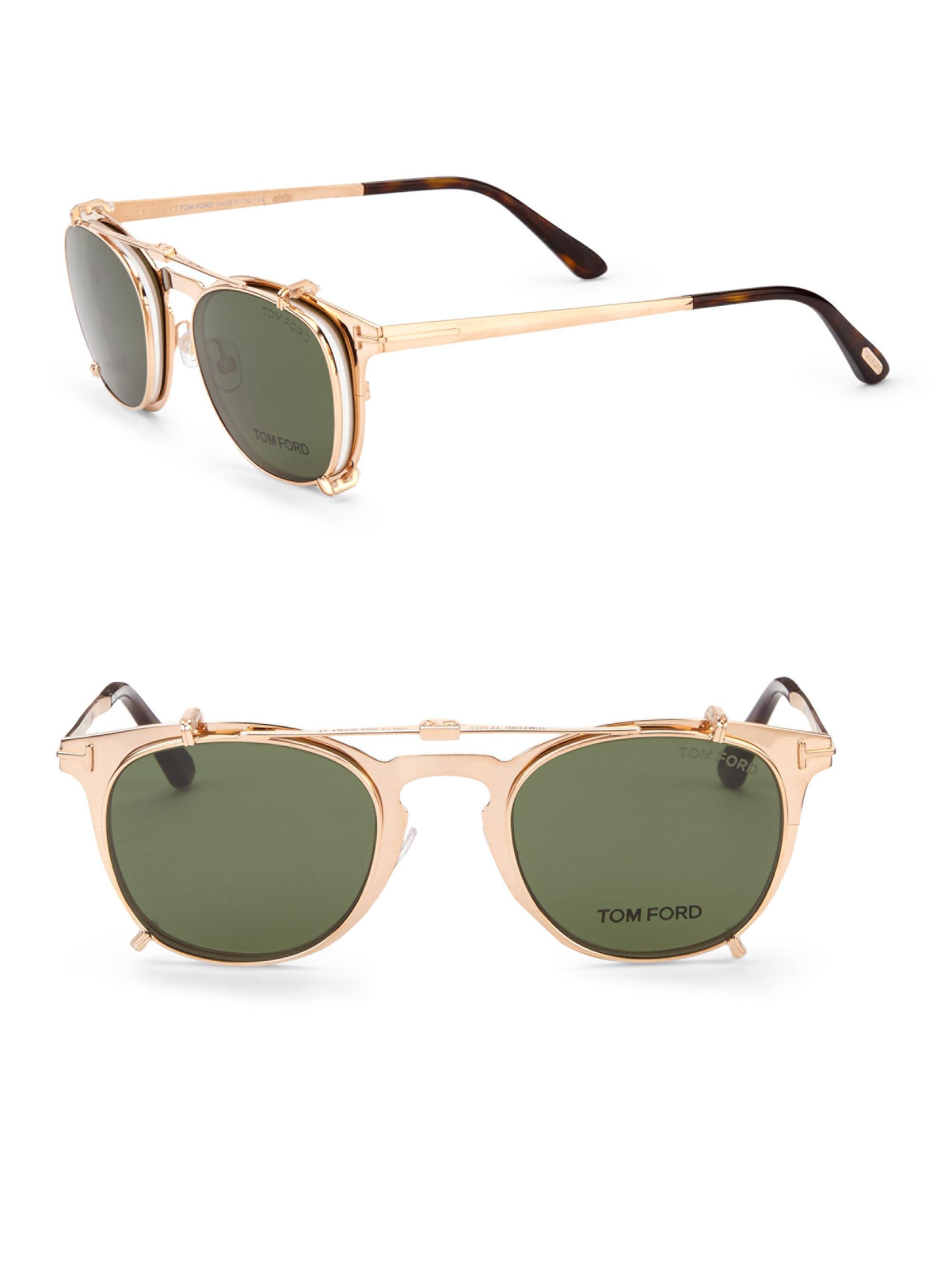 fe5da6d466 Lyst - Tom Ford 48mm Round Sun-clip Optical Glasses in Metallic for Men