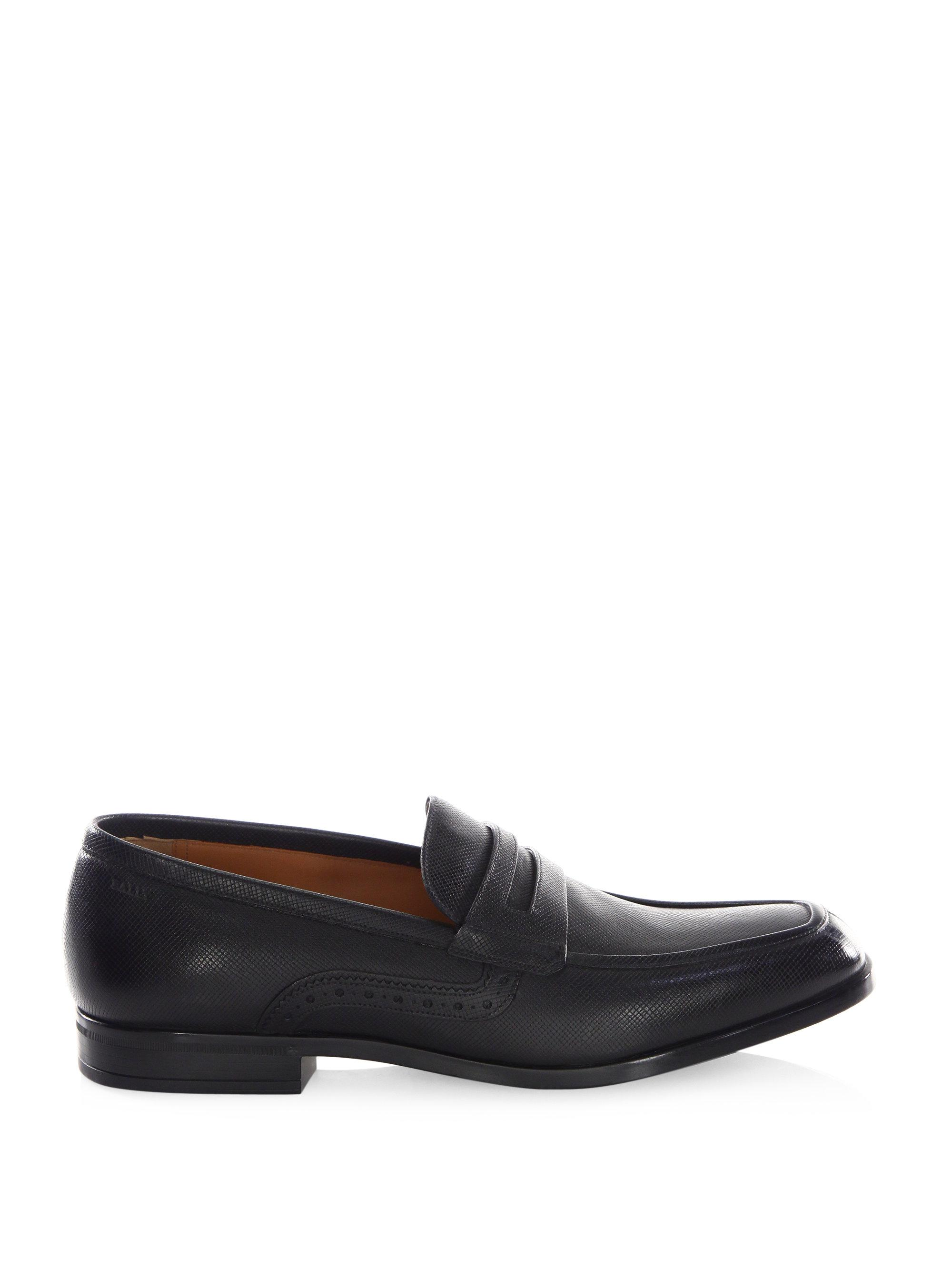 Bally Lauto Saffiano Leather Penny Loafers in Black for ...