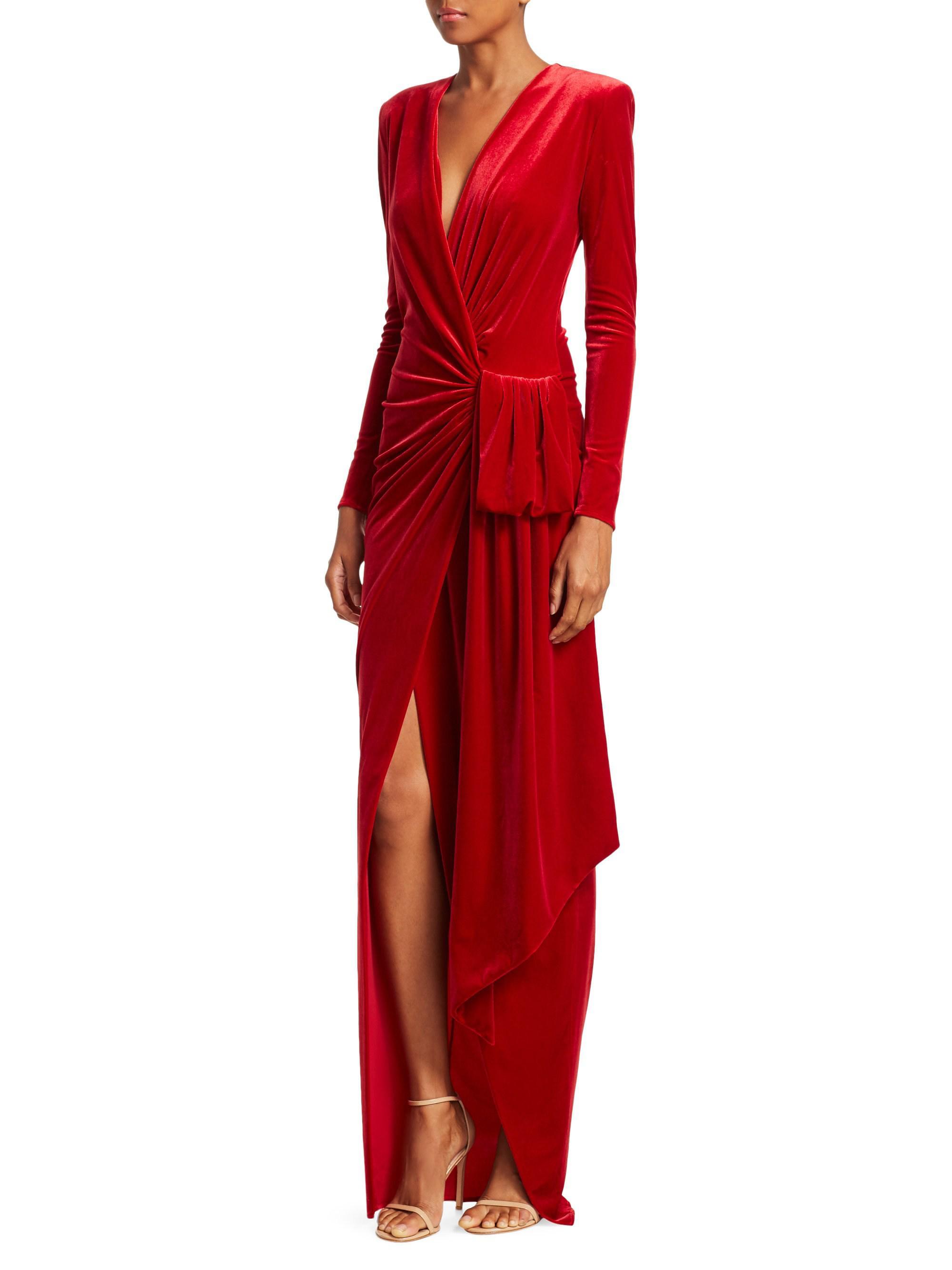 7b4c6751e2 Alexandre Vauthier Draped Velvet Maxi Wrap Gown in Red - Lyst