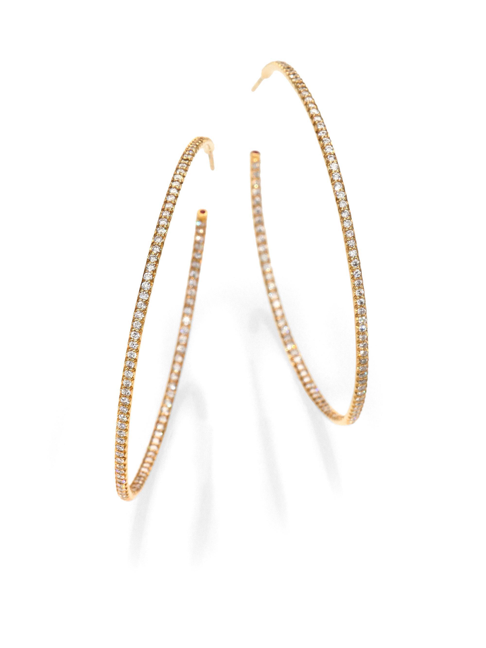 Lyst Roberto Coin Diamond 18k Gold Inside Outside Hoop Earrings