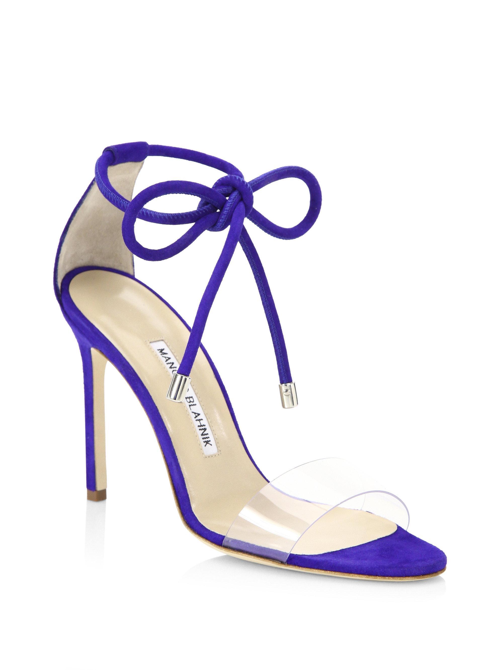cf243d2a14eb2 Manolo Blahnik Estro Ankle Tie Stilettos in Blue - Lyst