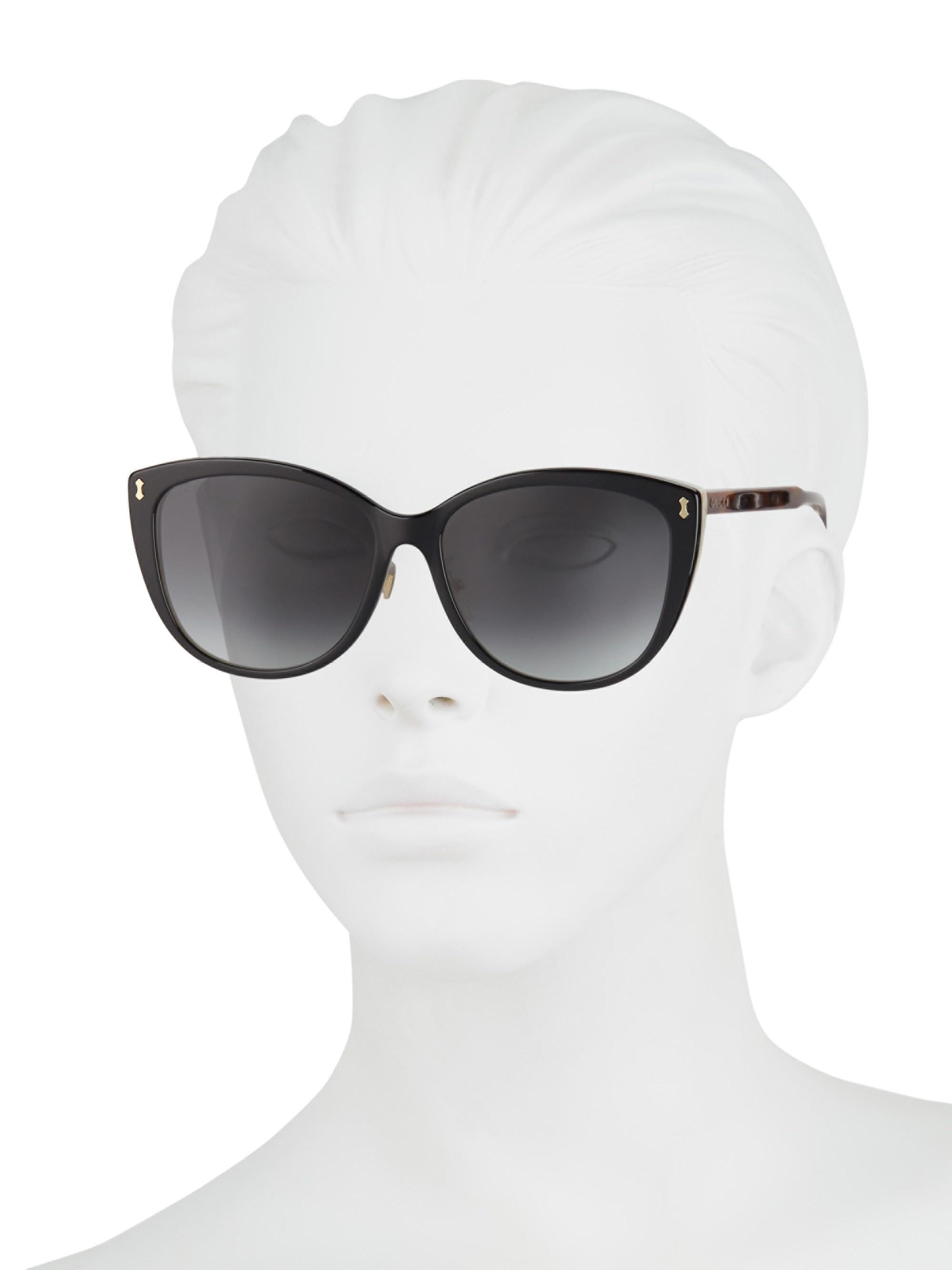e391f7c83a8 Lyst - Gucci Horn Oversized Cat Eye Sunglasses in Black